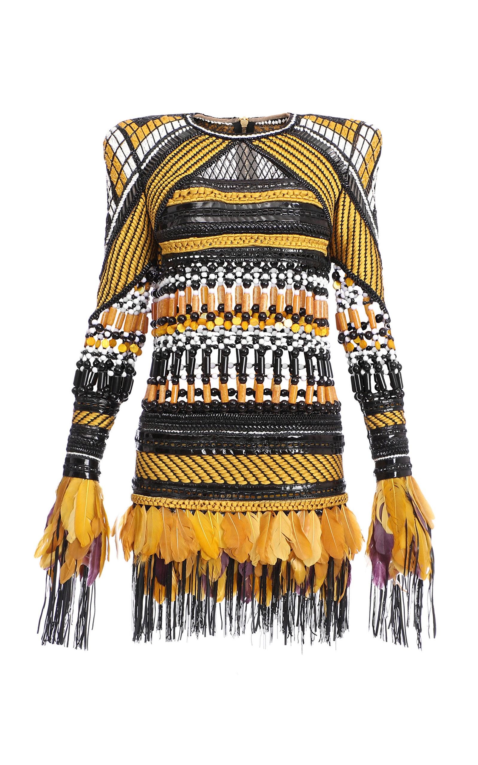 1e9ed188 Balmain Feather-Trim Embroidered Dress In Multi | ModeSens