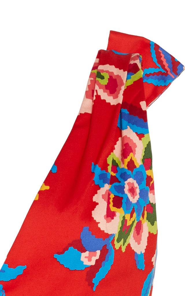 Carolina Herrera Dresses Bow-Detailed Floral-Print Stretch-Cotton Dress