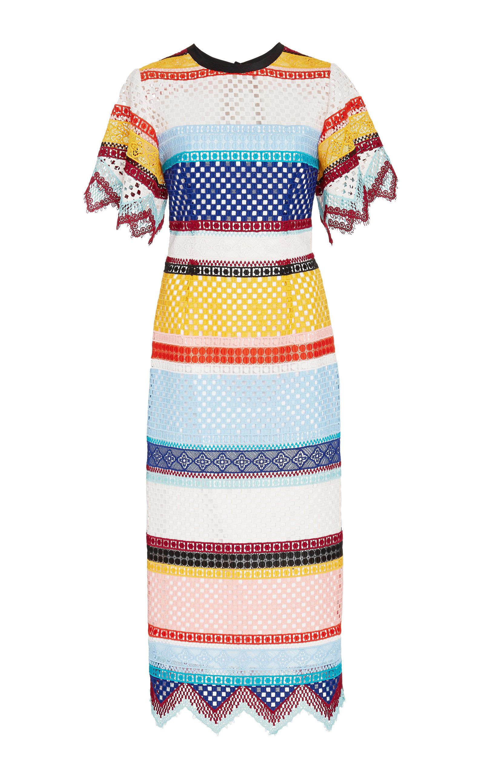 Carolina Herrera Dresses Color-Blocked Guipure Lace Dress