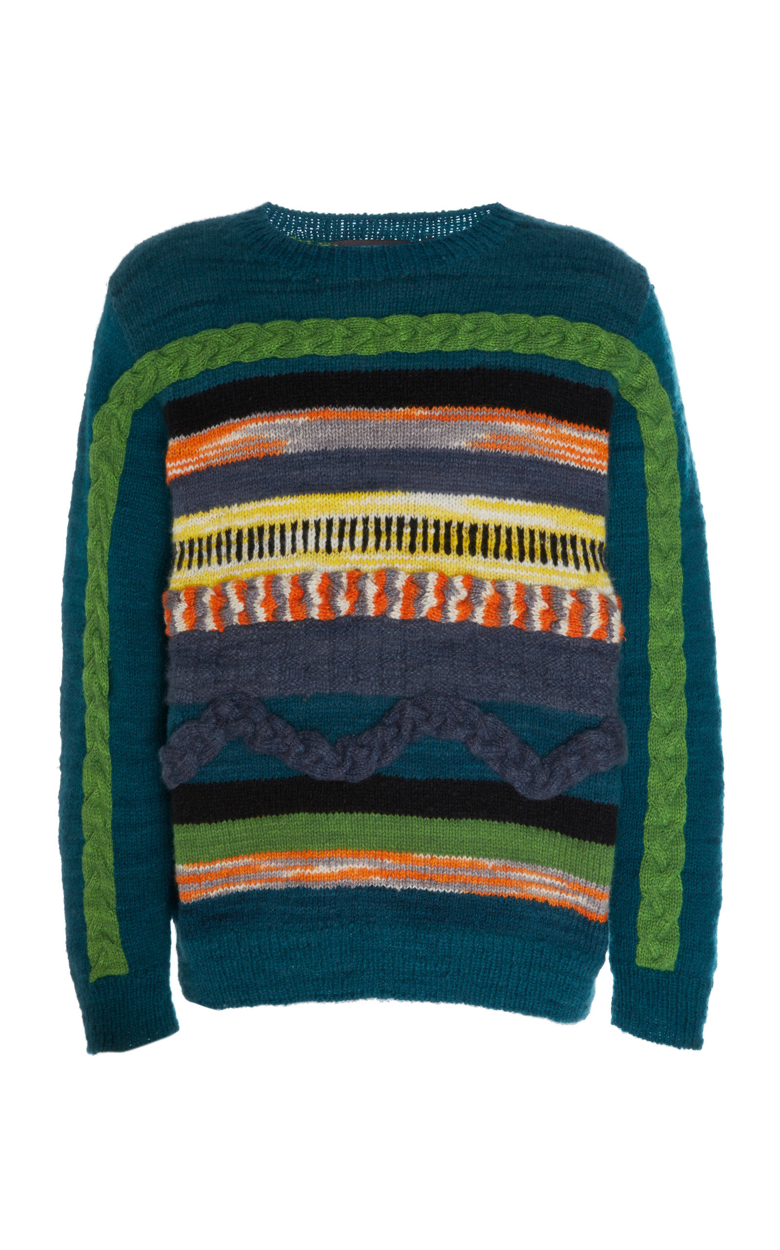 The Elder Statesman Knits SOUTH AMERICAN HAND KNIT 3-D CABLES CREWNECK