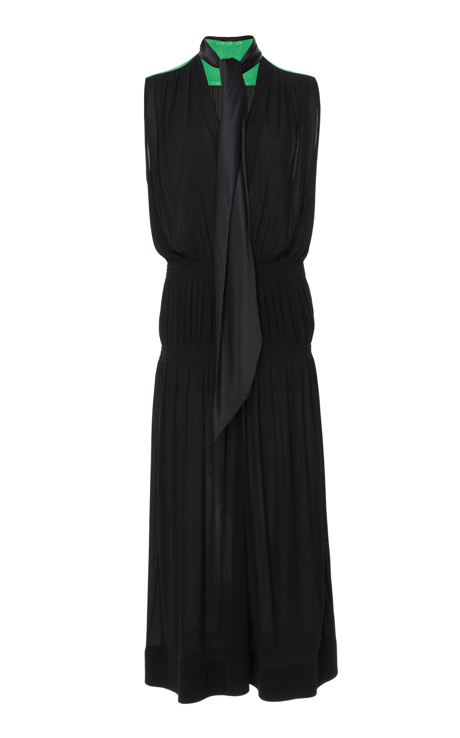 Givenchy Dress Two-Tone Tie-Detailed Georgette Midi Dress