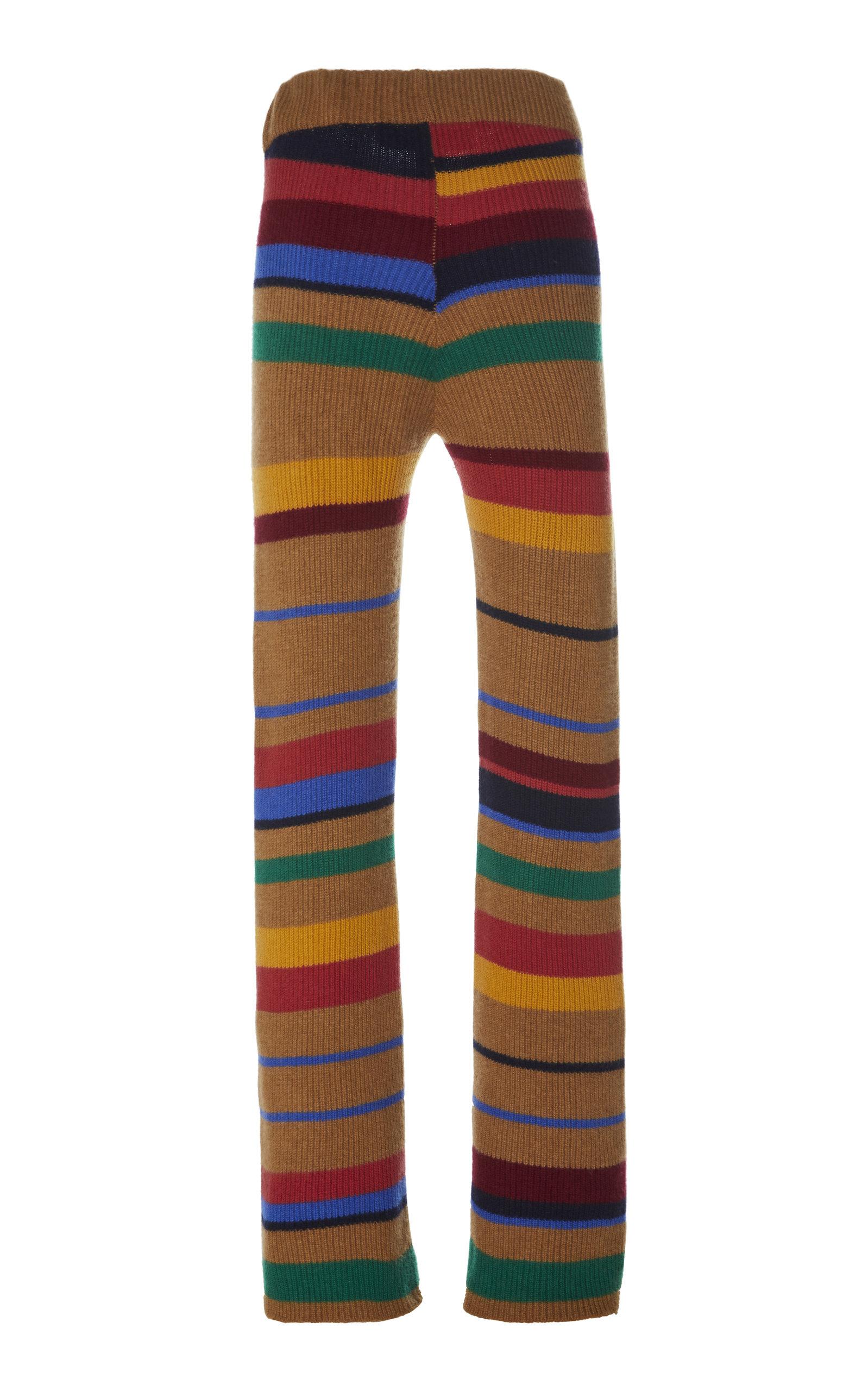 The Elder Statesman Pants POMONA STRIPED CASHMERE FLARED PANTS