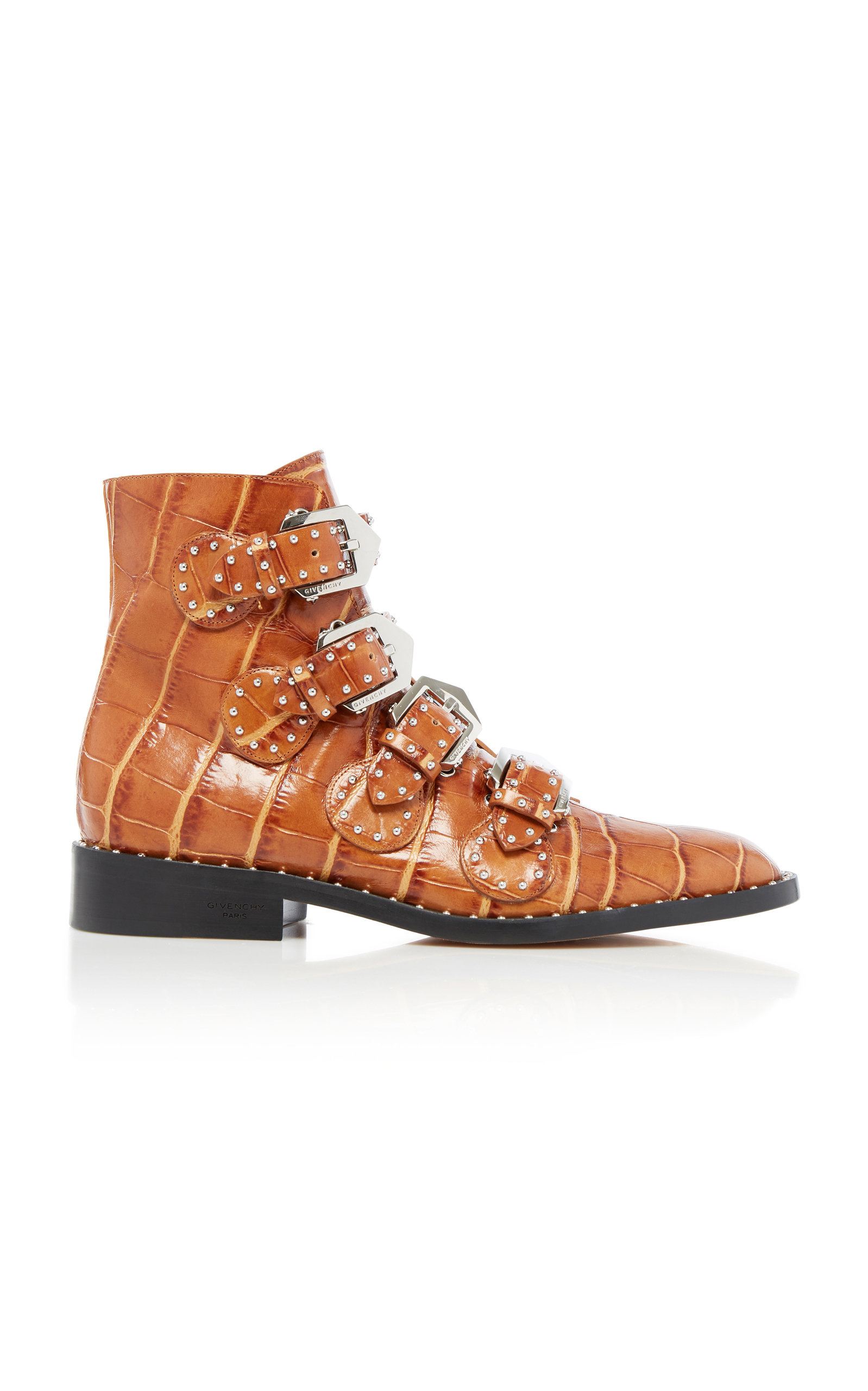 Givenchy Boots Studded Croc-Effect Leather Ankle Boots