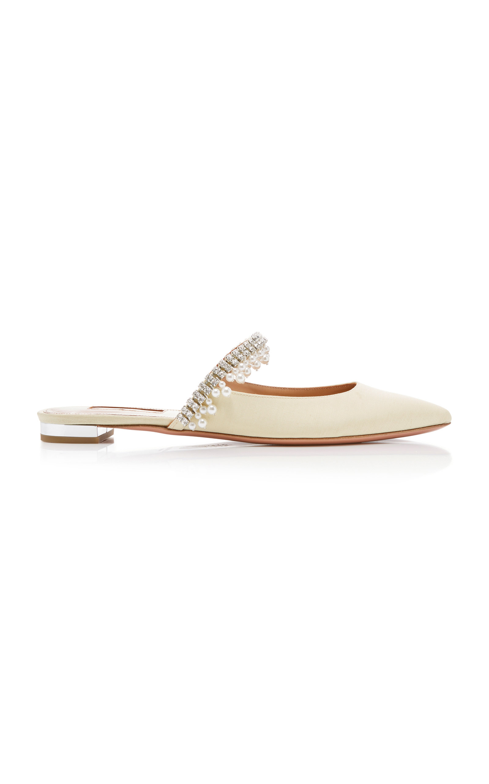 Aquazzura Slippers Exquisite Crystal-Embellished Leather Slide