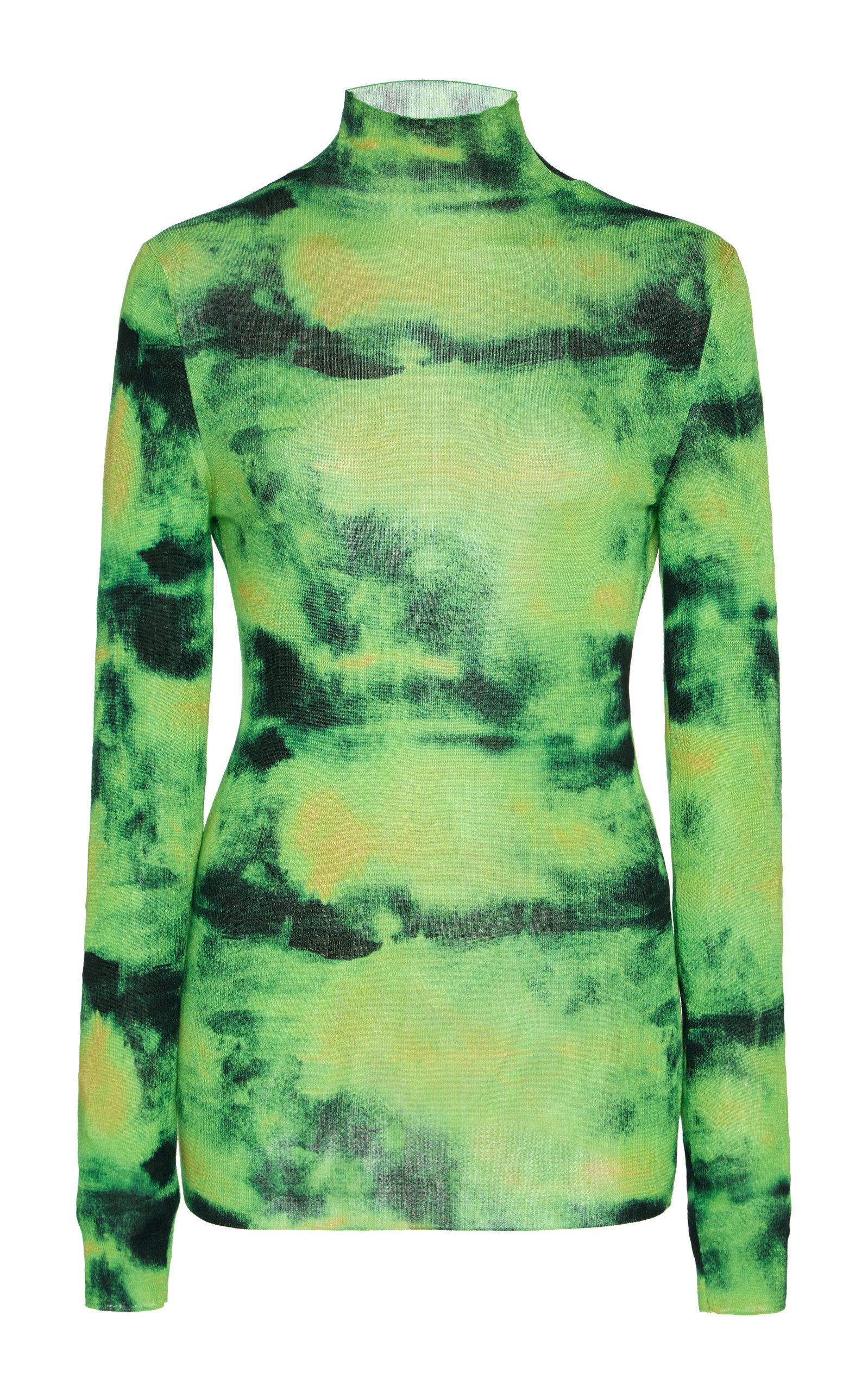 Versace Tops Tie-Dyed Silk Turtleneck Top