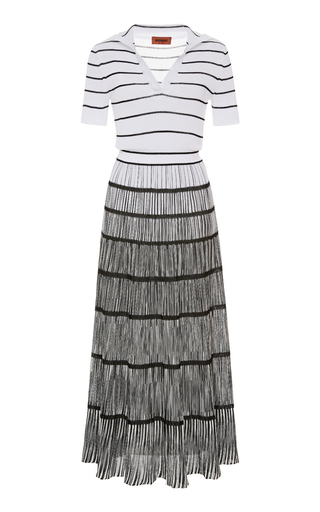 Missoni STRIPED OMBRÉ RIBBED-KNIT DRESS