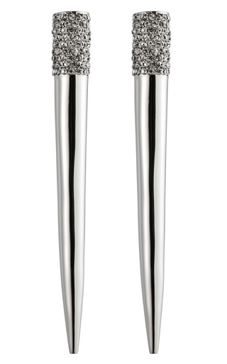 Medium eddie borgo silver pave crystal spike earrings