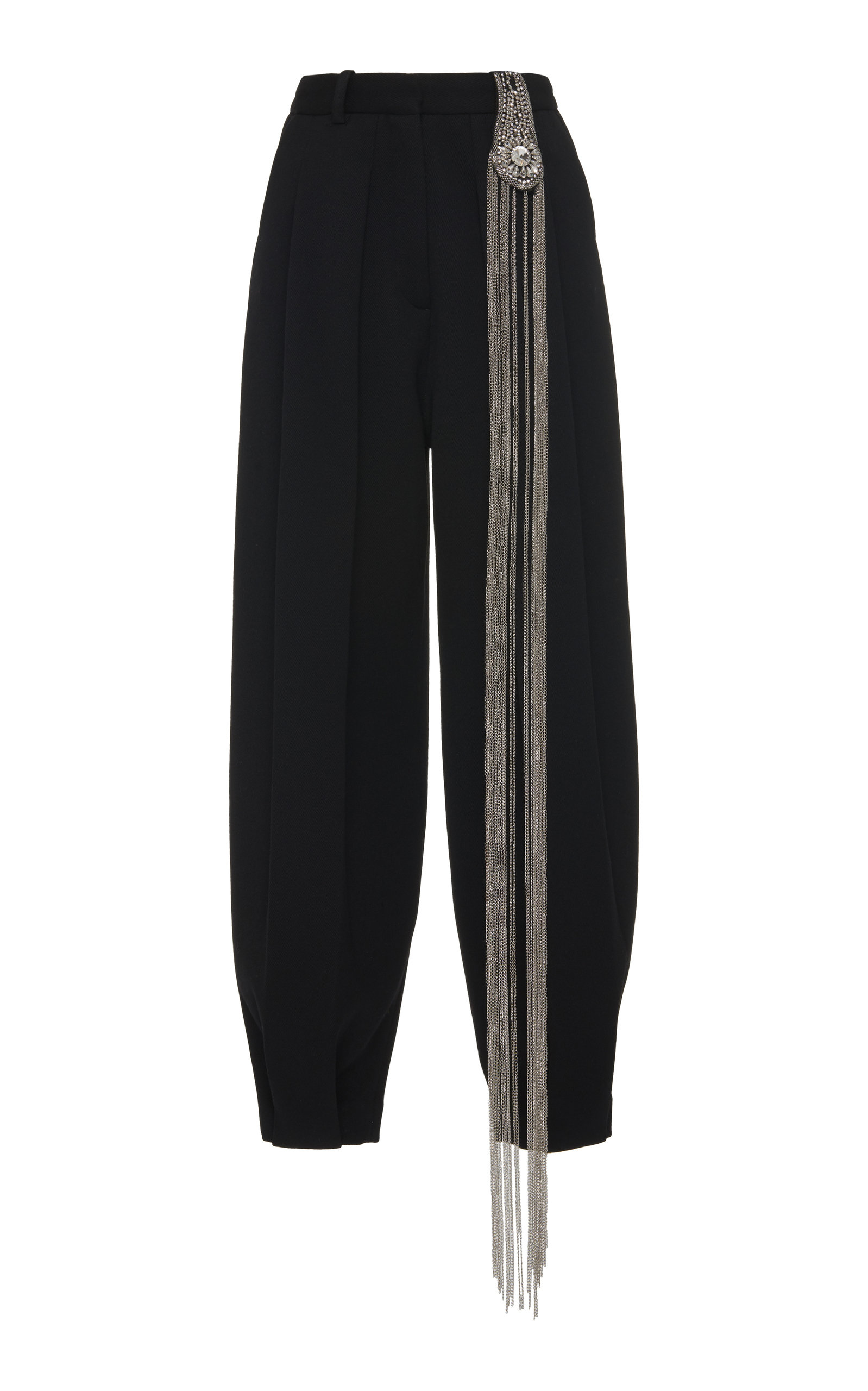 Christopher Kane Pants Embellished Cropped Tapered Wool Pants