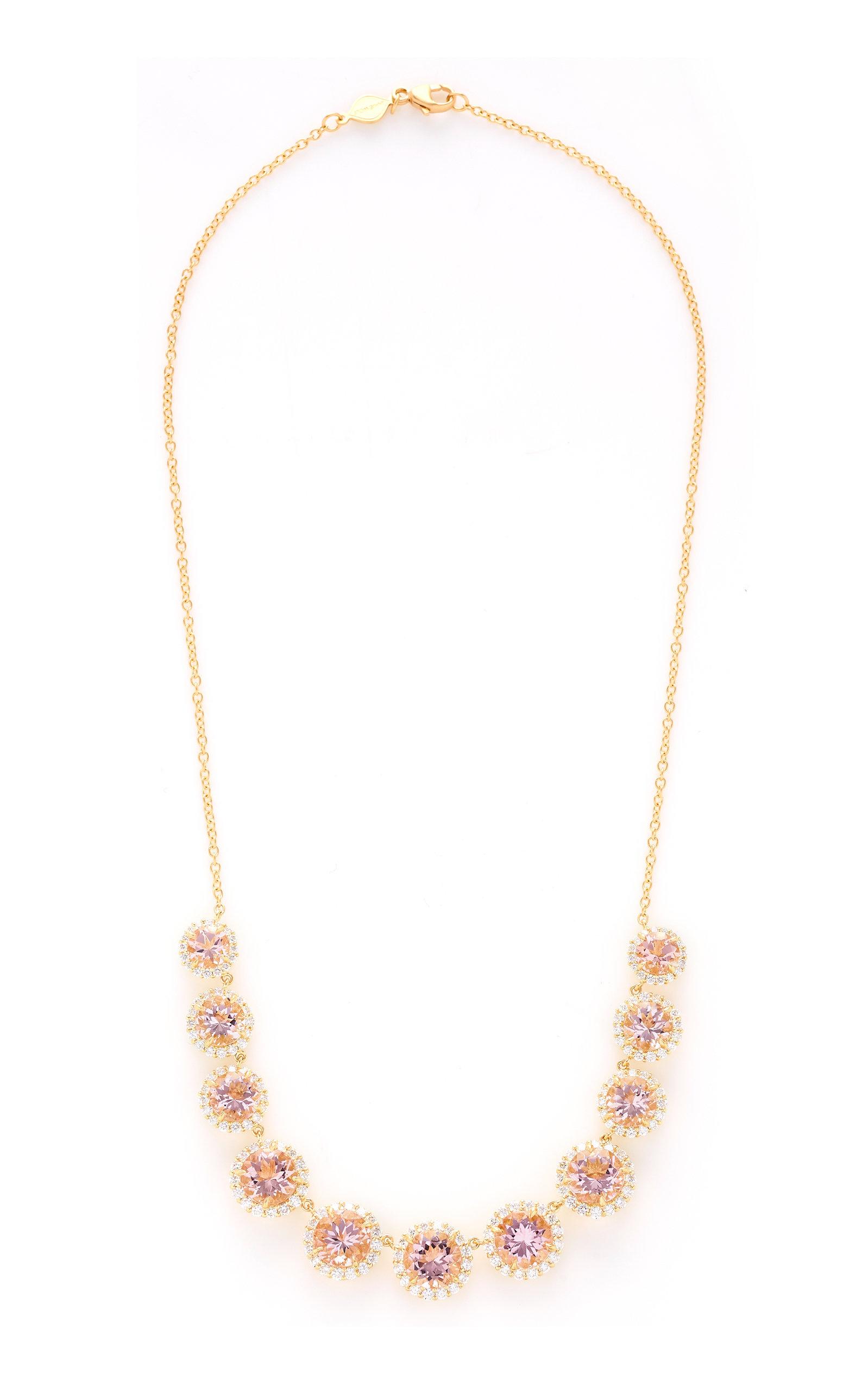 4f0489c146bcc1 18K Yellow Gold Diamond Edge Graduated Morganite Necklace by Jamie ...