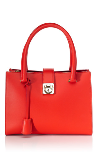 Medium salvatore ferragamo red lava juliette tote