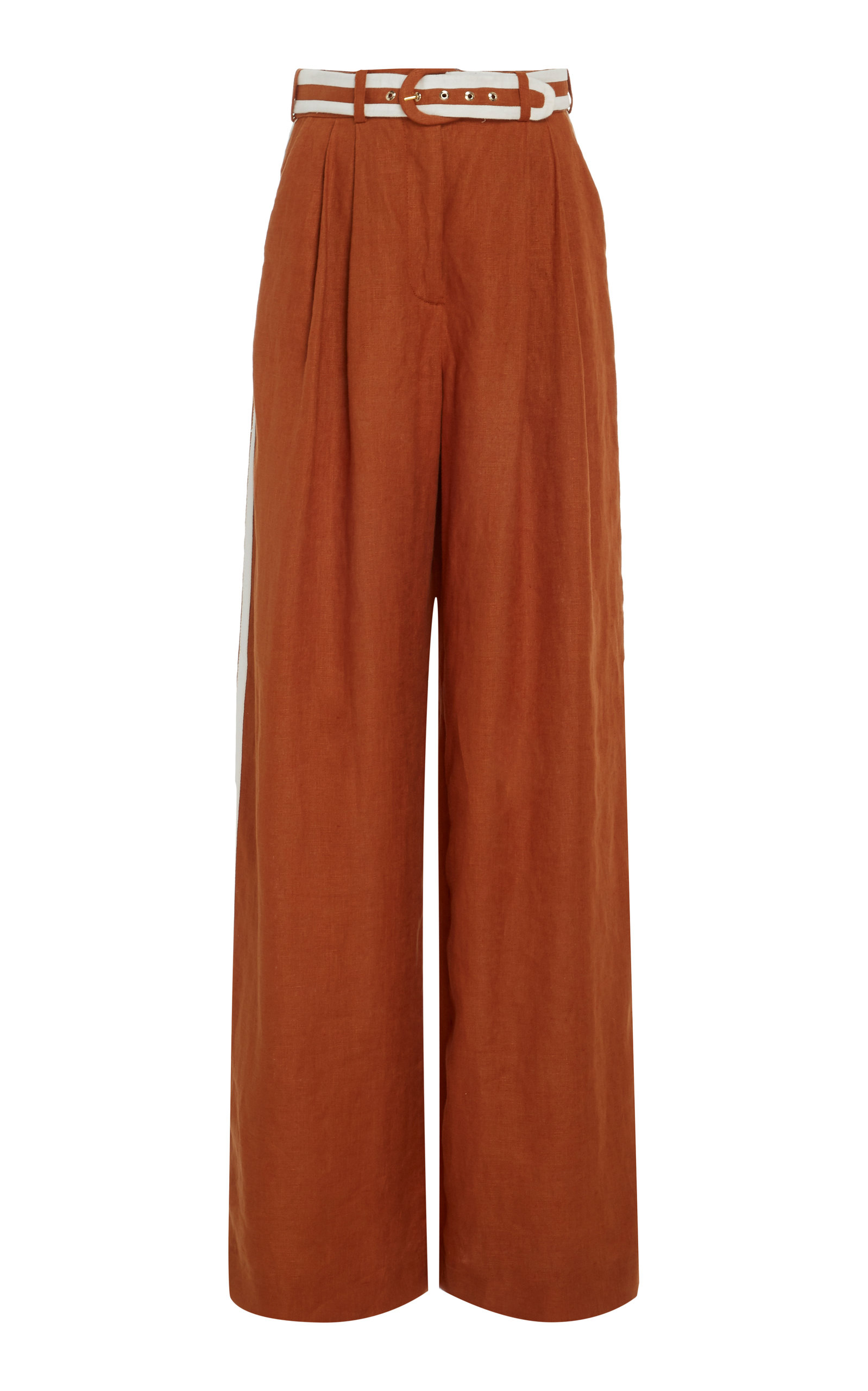 Zimmermann Belted Linen Wide-Leg Pants In Brown