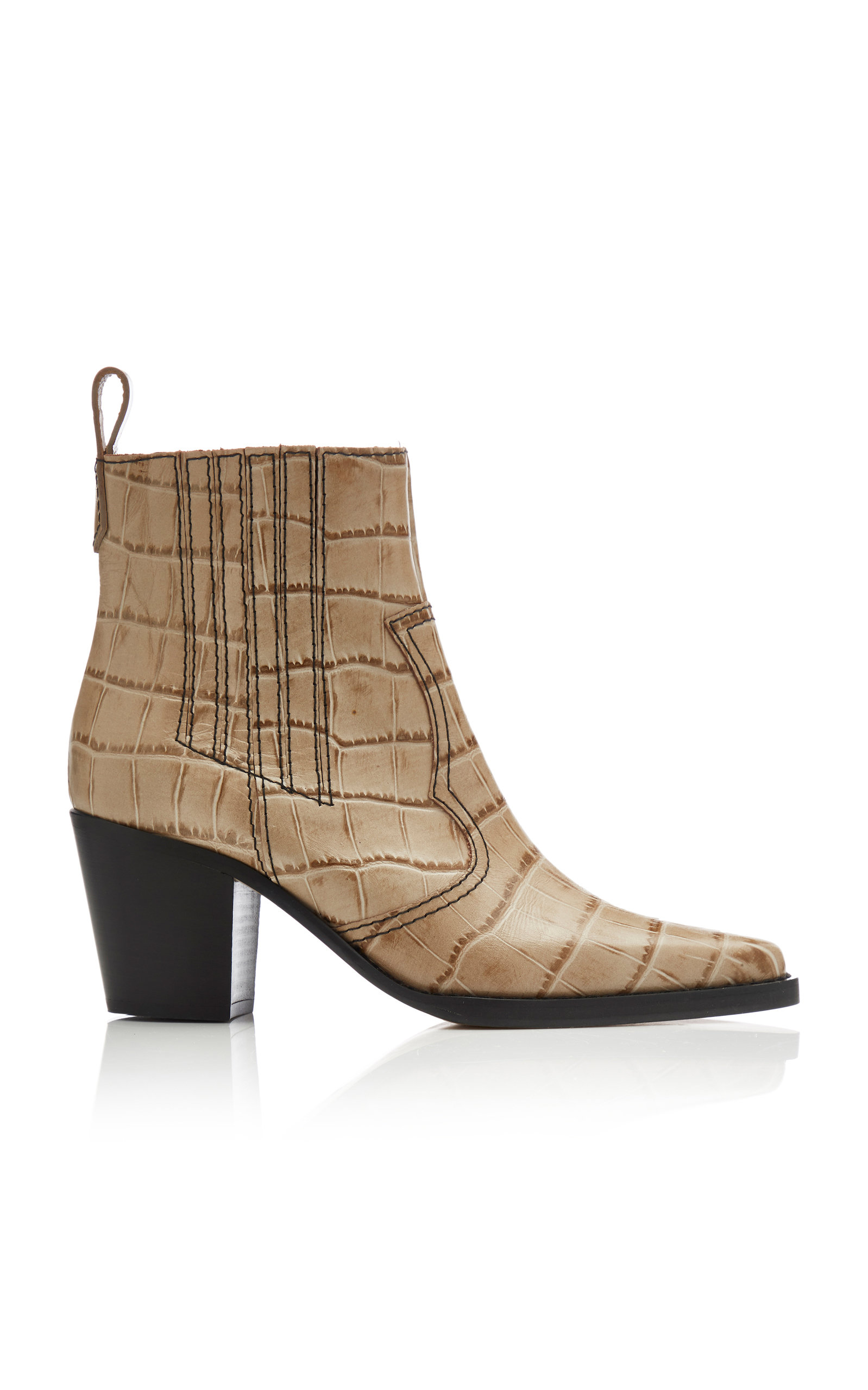 Ganni Boots Croc-Effect Leather Ankle Boots