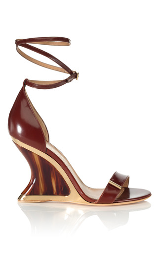 Medium salvatore ferragamo brown acero space wedge