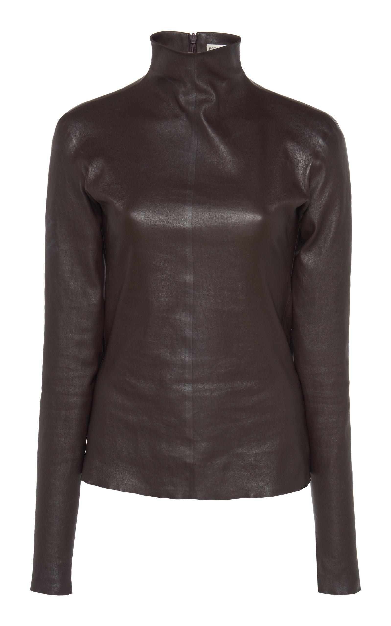 Bottega Veneta Tops Mock Neck Leather Top