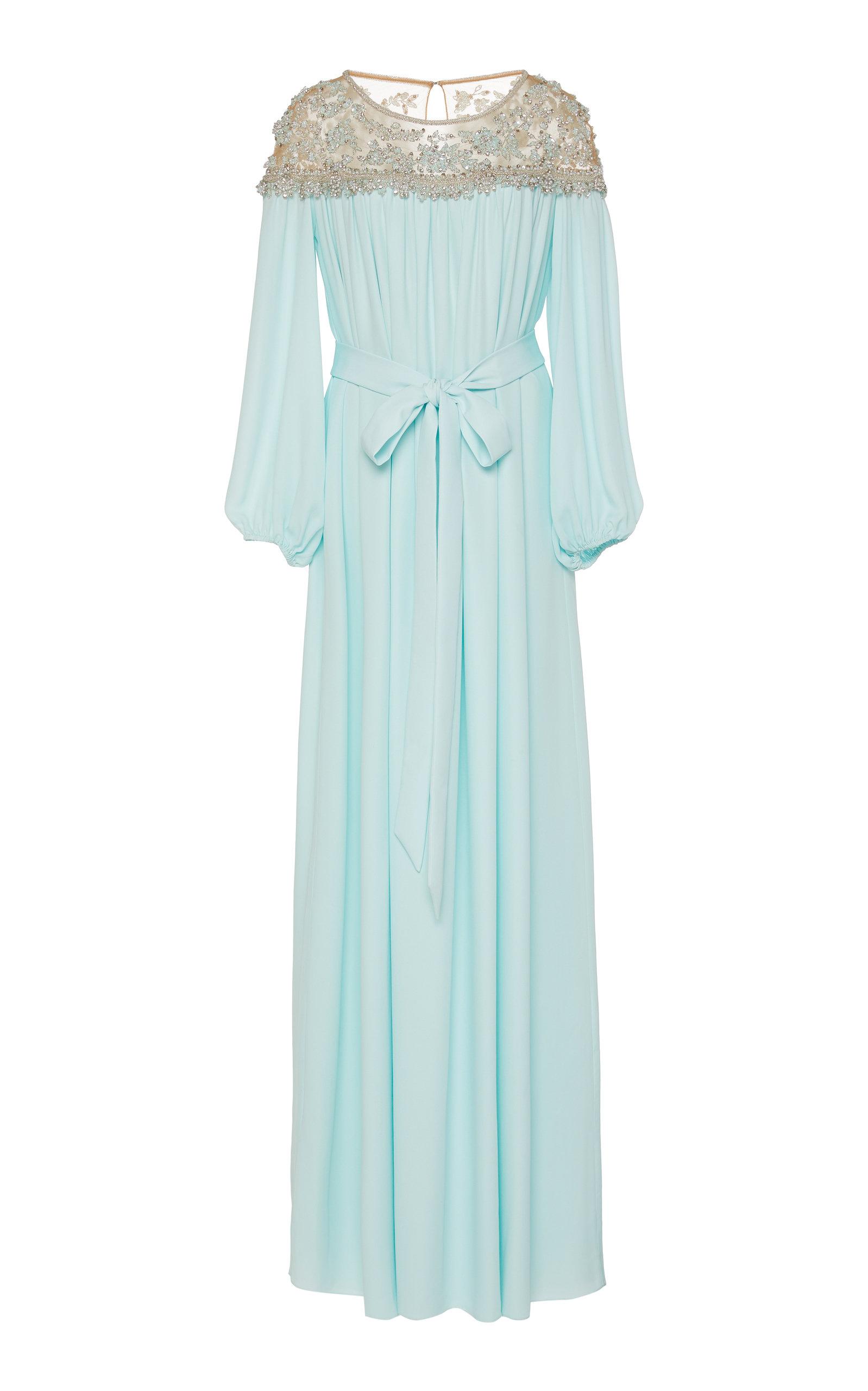Marchesa Dresses Crystal And Pearl Embellished Silk-Georgette Caftan Dress