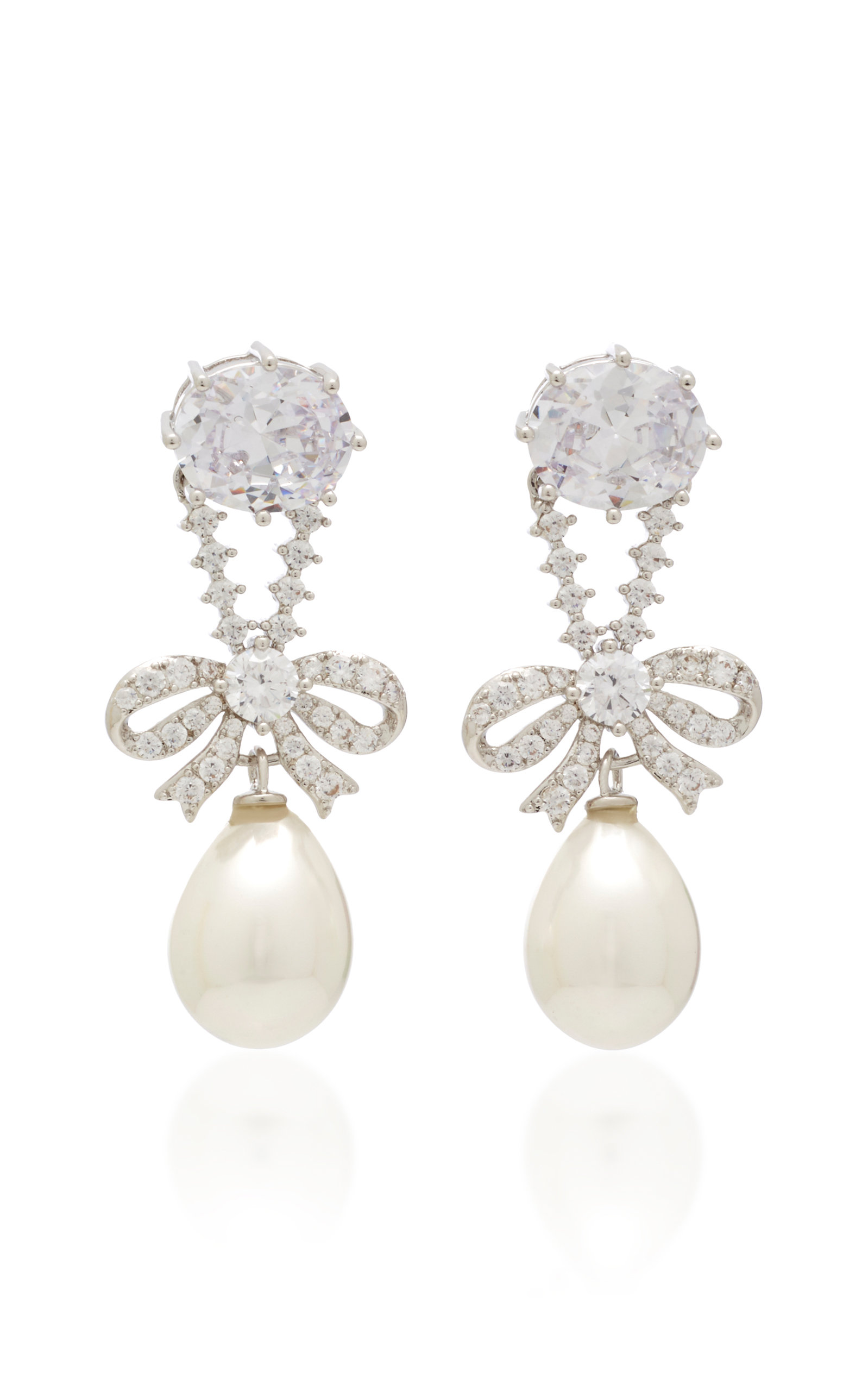 Silver Tone, Crystal And Pearl Earrings by Fallon