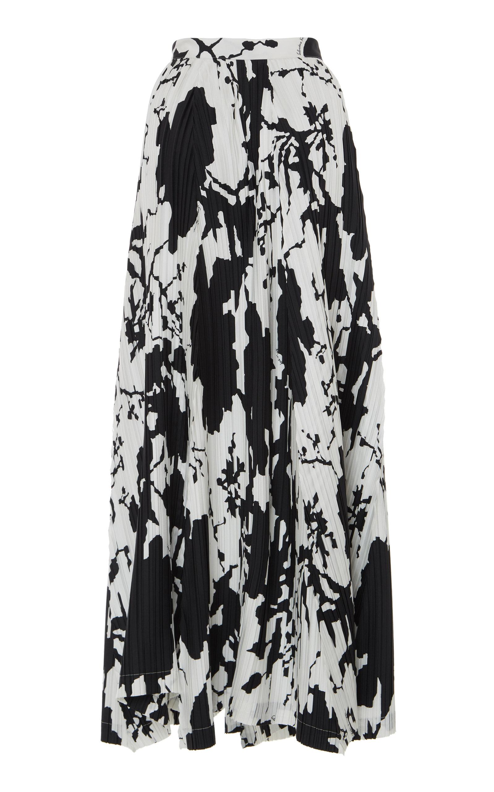 ed328109d Salvatore FerragamoAbstract-Printed Pleated Maxi Skirt. CLOSE. Loading.  Loading