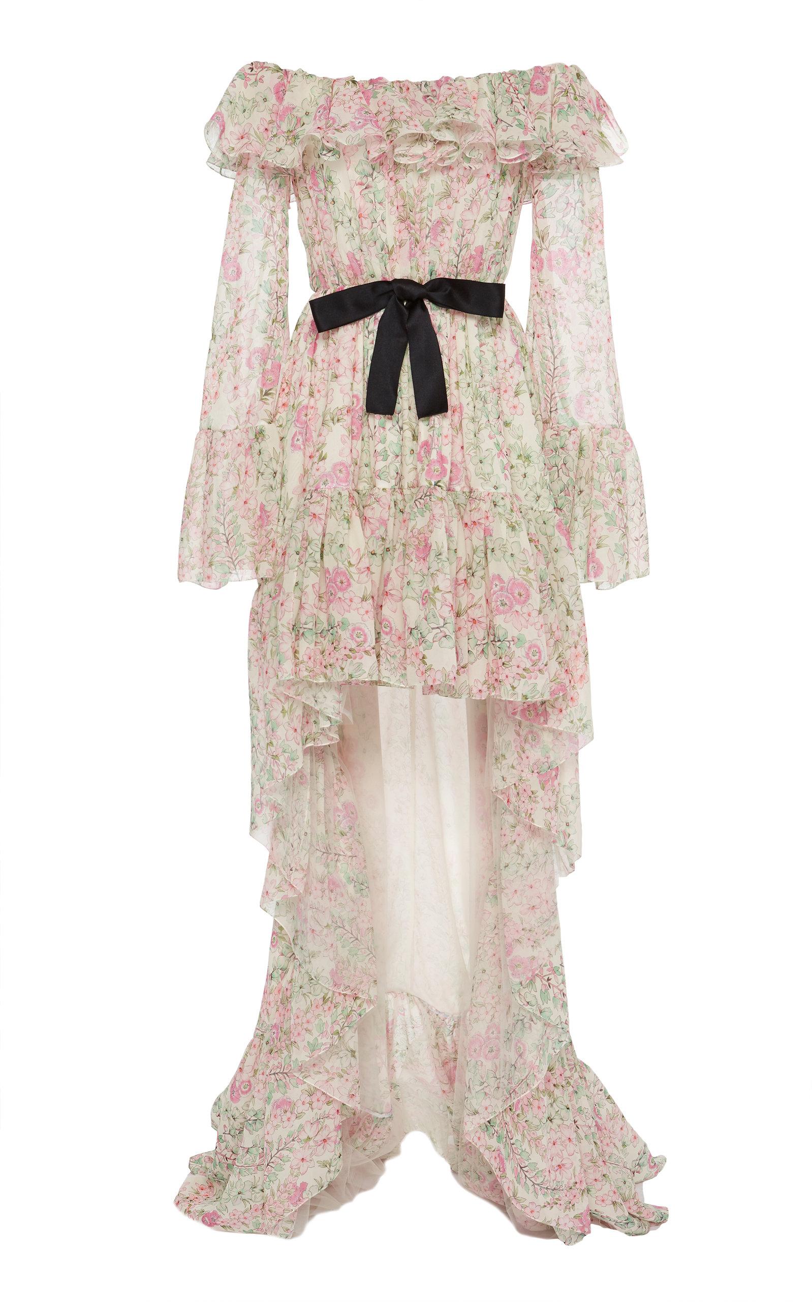 Giambattista Valli Dresses Off-The-Shoulder Asymmetric Silk-Chiffon Maxi Dress