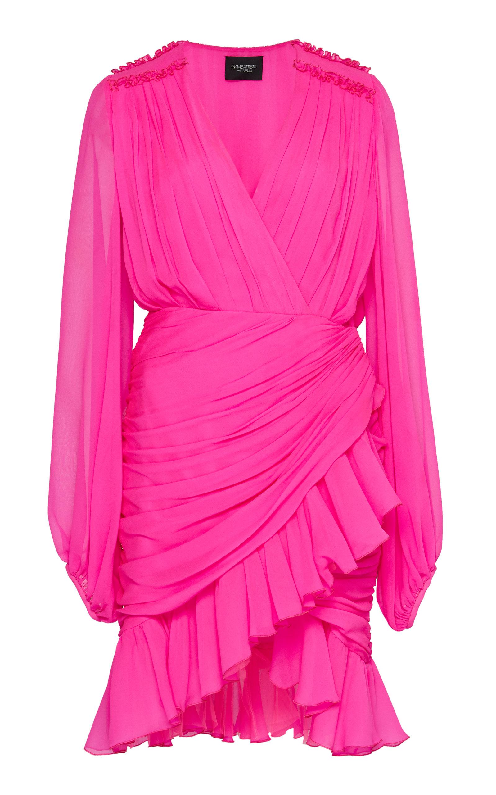 Giambattista Valli Dresses Ruched Neon Silk-Chiffon Mini Dress