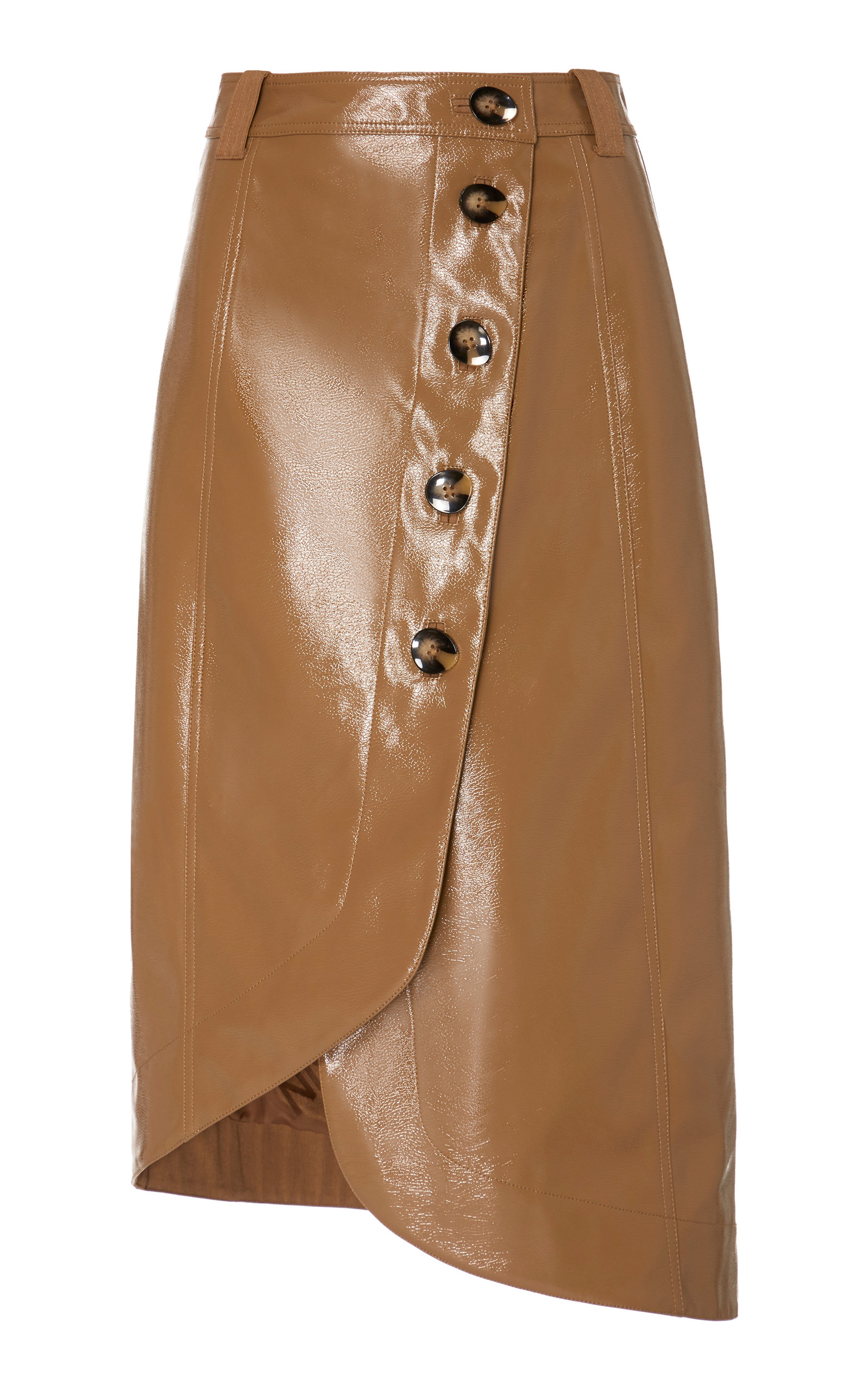 Ganni Skirts Patent Button-Detailed Asymmetric Skirt
