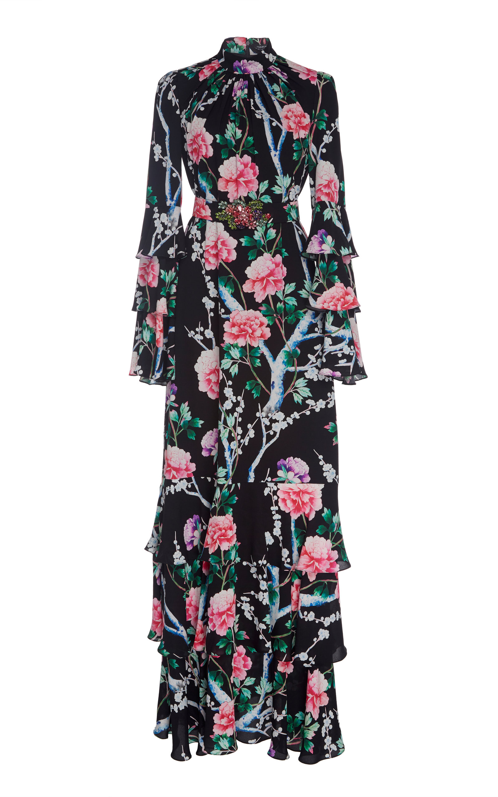 Andrew Gn Tiered Floral Silk Maxi Dress In Black