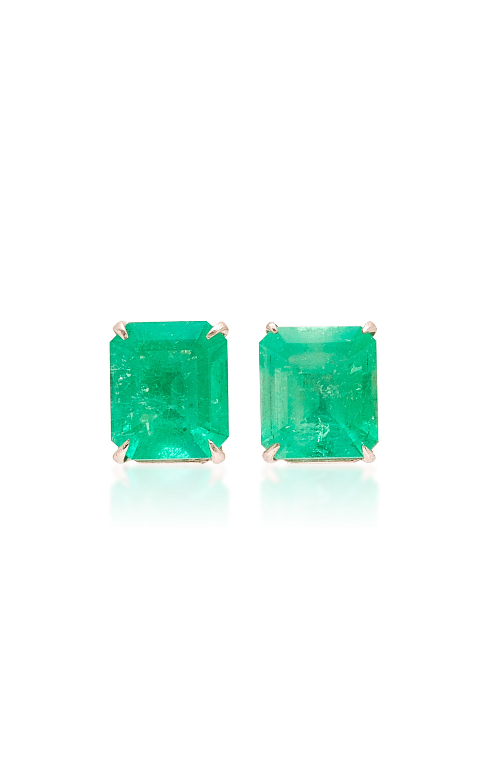 14k White Gold And Emerald Stud Earrings