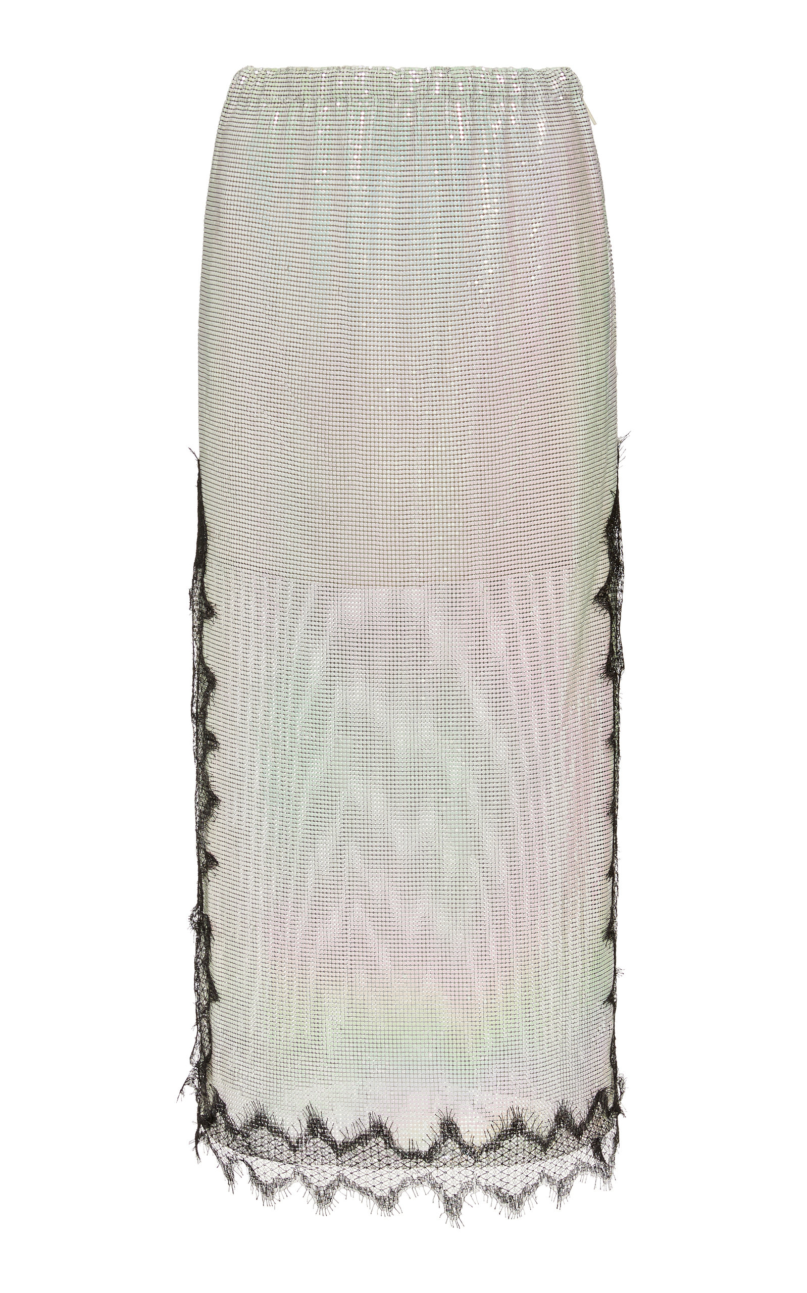 Christopher Kane Skirts Lace-Trimmed Chainmail Midi Skirt