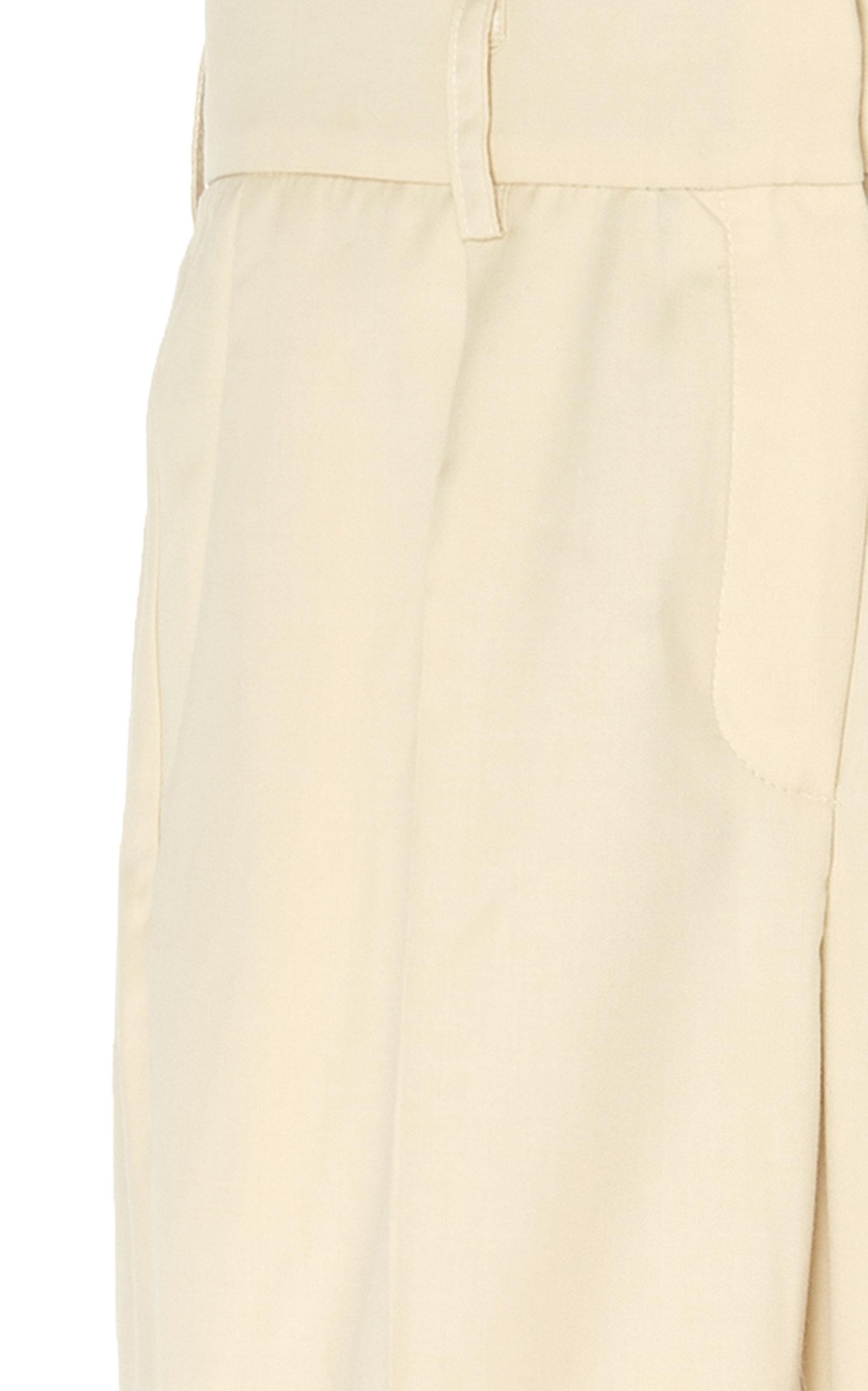 Operator Pintucked Wool-Blend Flared Pants