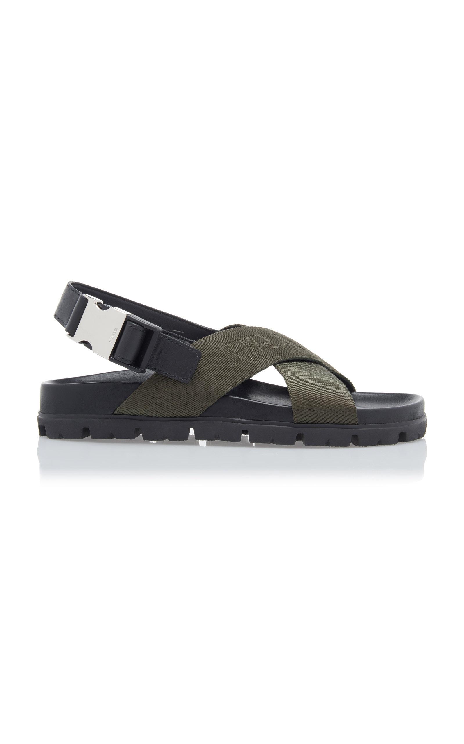 Prada Sandals Leather-Trimmed Canvas-Jacquard Sandals