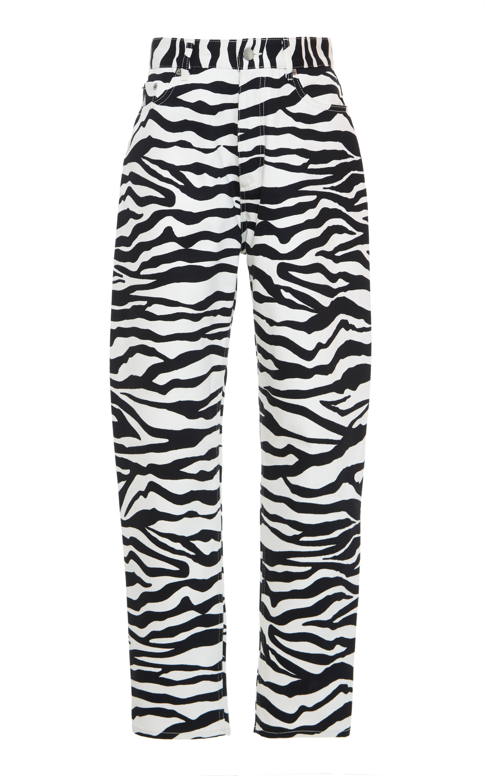 Attico Pants Zebra-Print High-Rise Cotton Pants