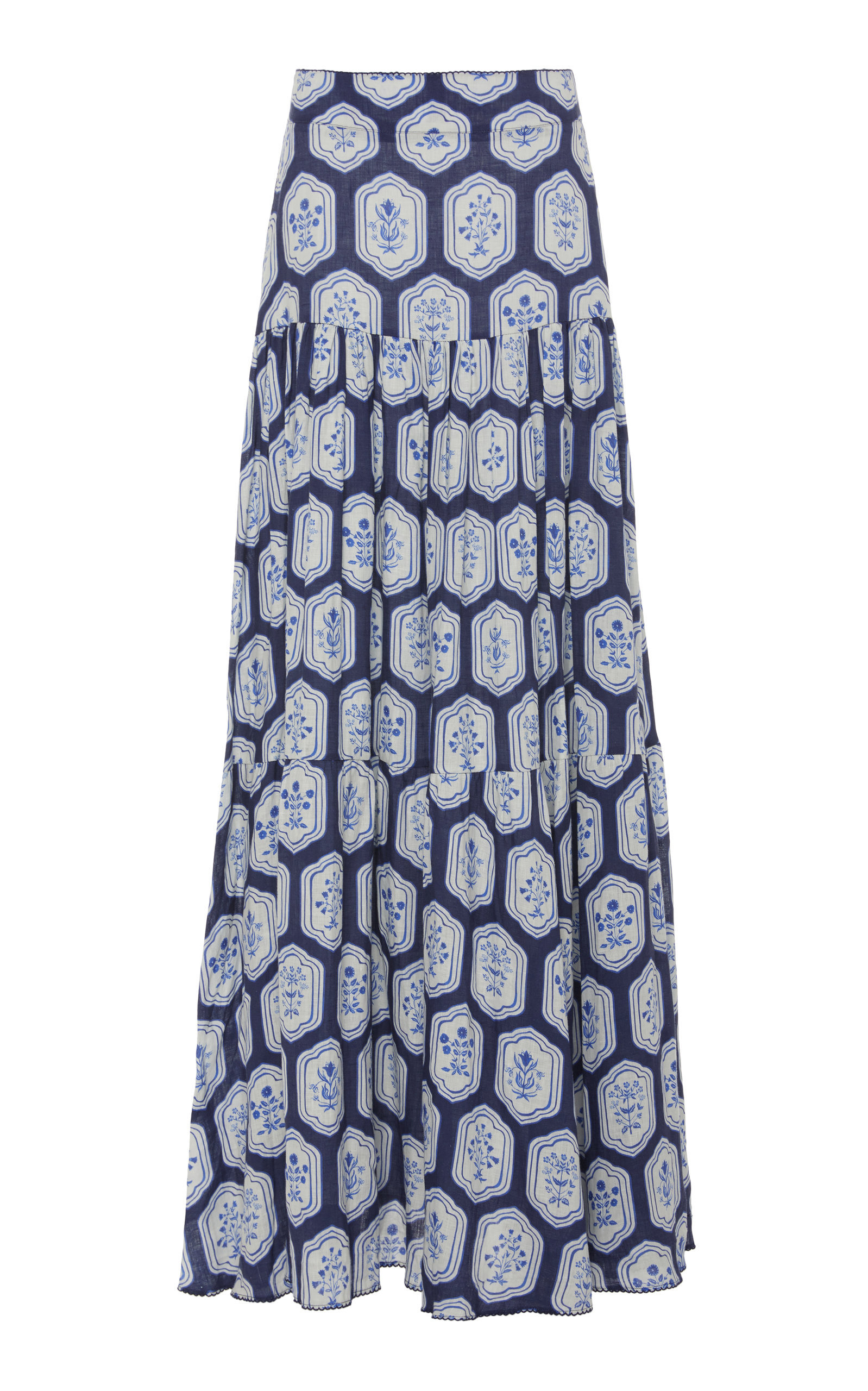 Agua By Agua Bendita Skirts ANIS FLORAL-PRINTED LINEN MAXI SKIRT