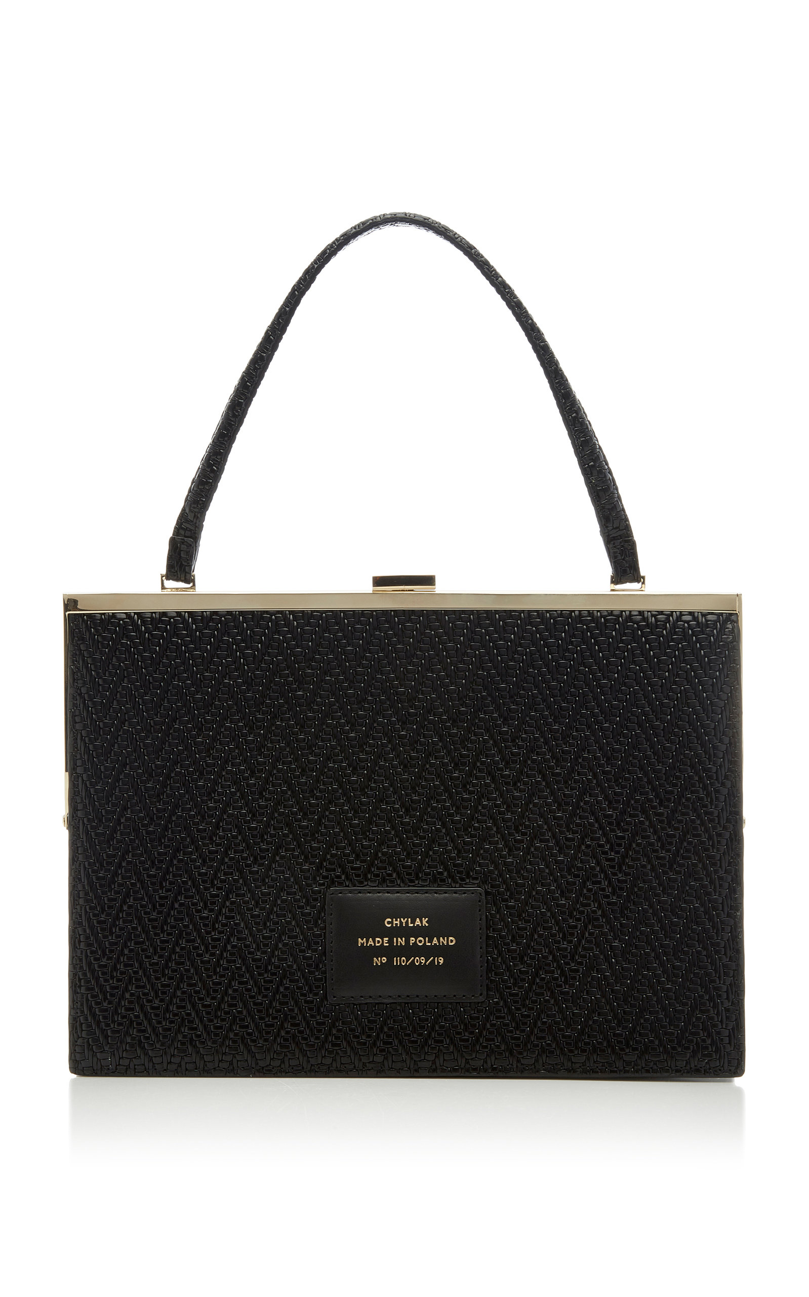Chylak Woven Leather Top Handle Bag In Black