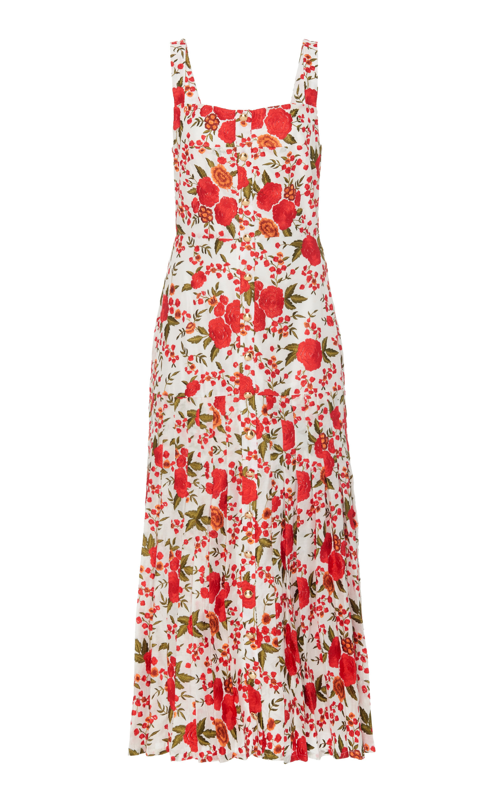 Amal Embroidered Floral Midi Dress