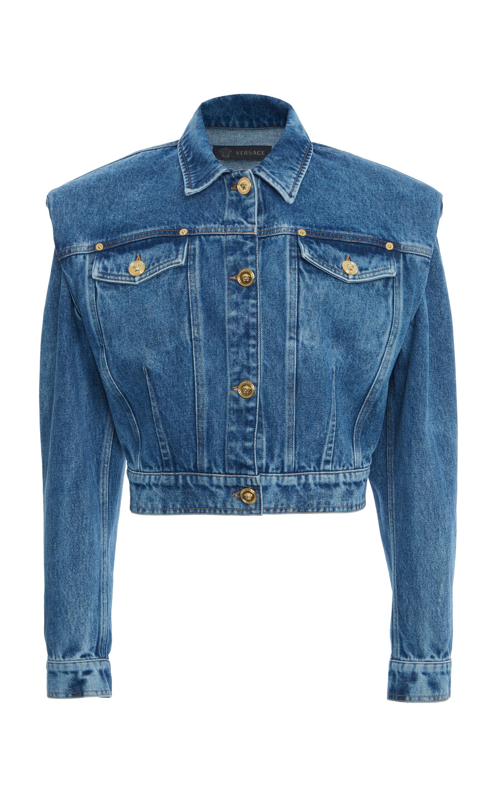 shop limited style elegant and graceful Padded-Shoulder Denim Jacket