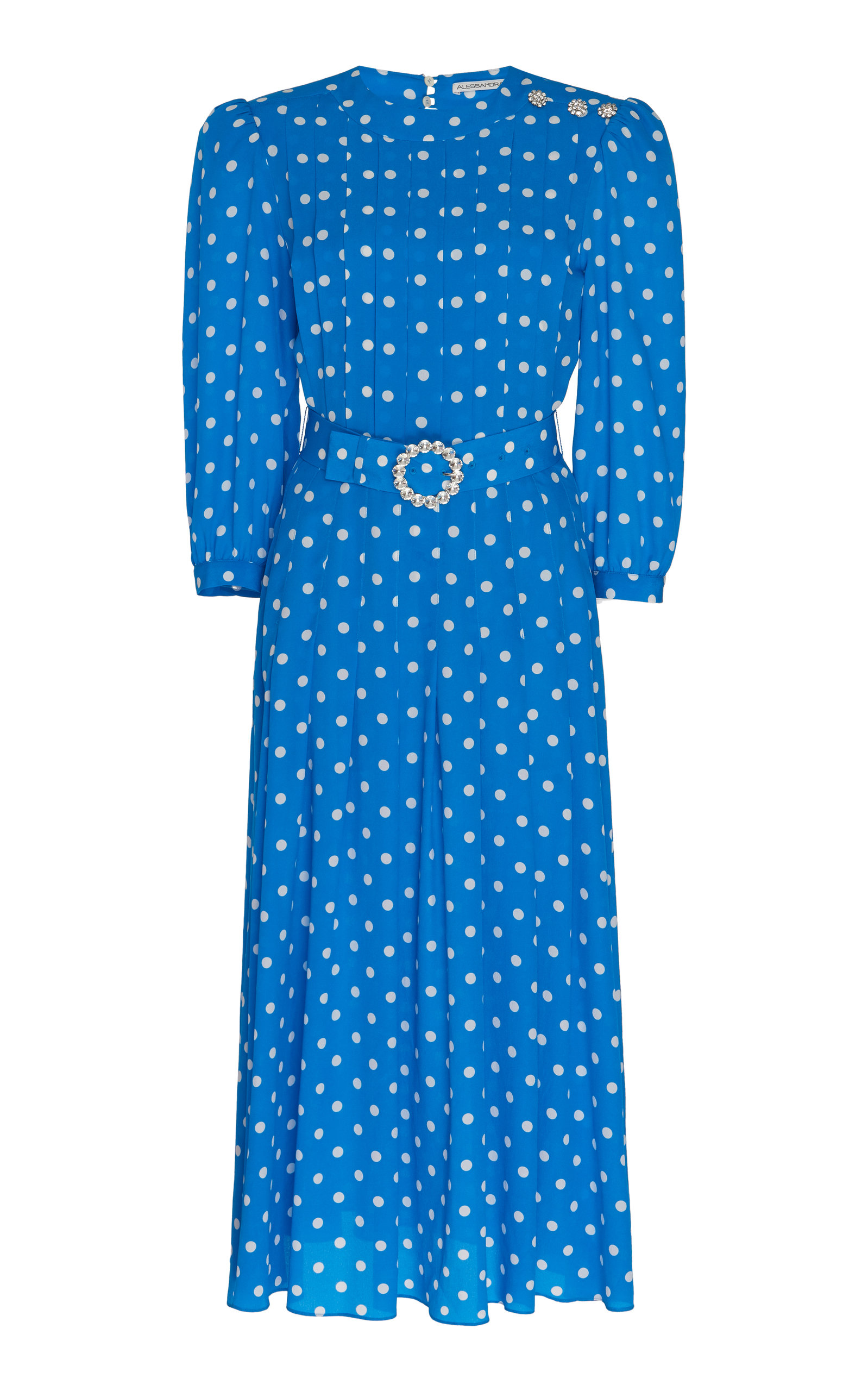 amazing price on feet shots of best selling Polka Dot Belted Silk Dress