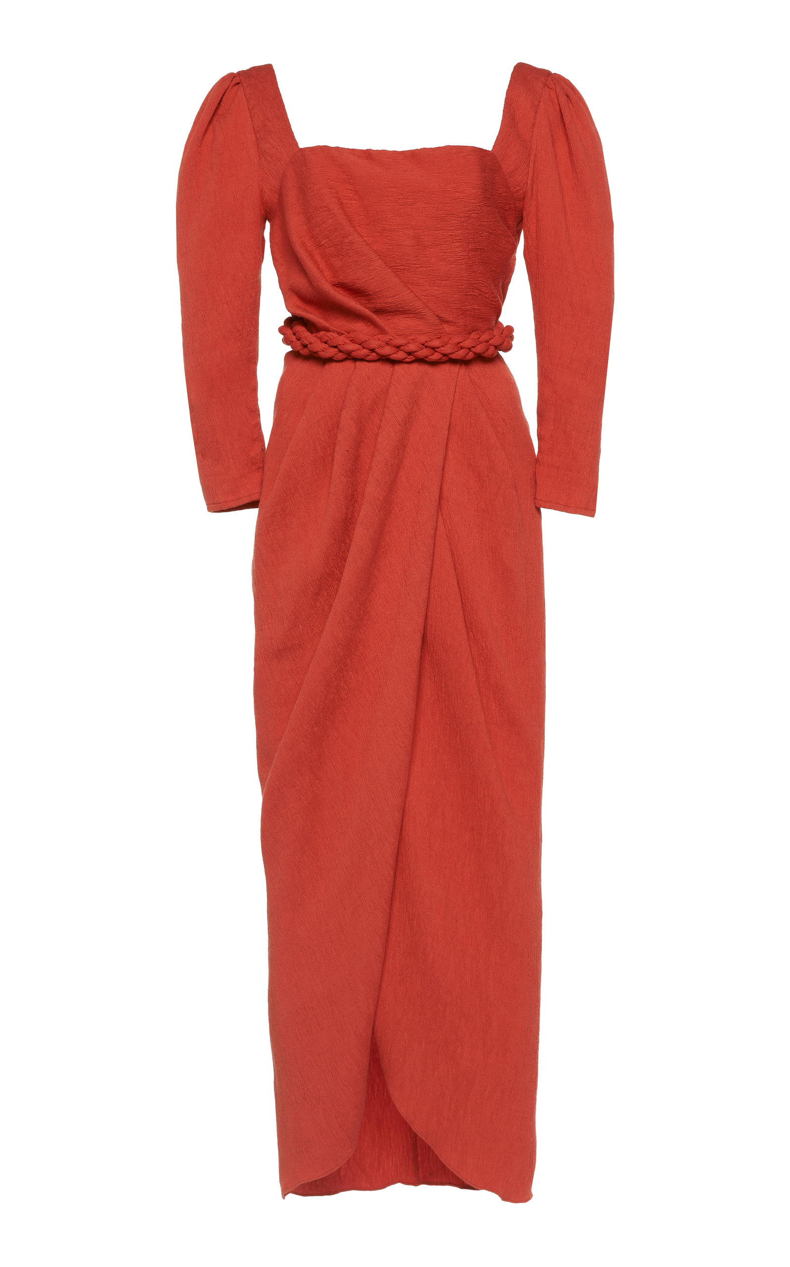 Classic Meetings Draped Crepe Midi Dress by Johanna Ortiz