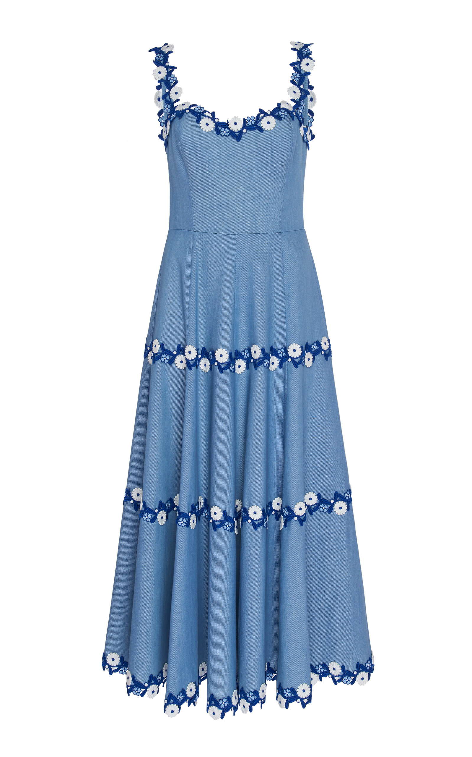 Pleated Embroidered Cotton Dress by Andrew Gn
