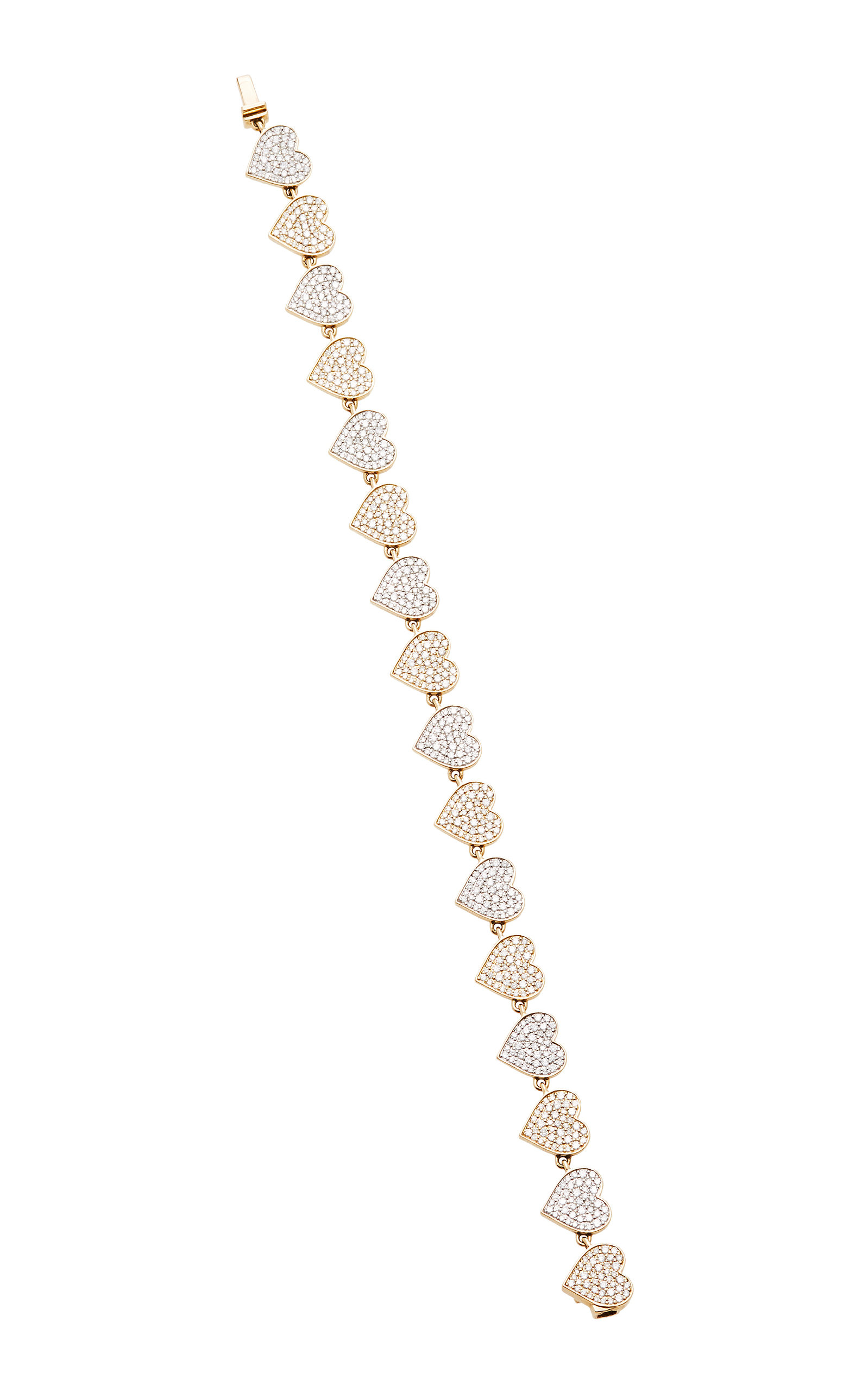 14 K Yellow Gold Double Heart Eternity Bracelet by Sydney Evan