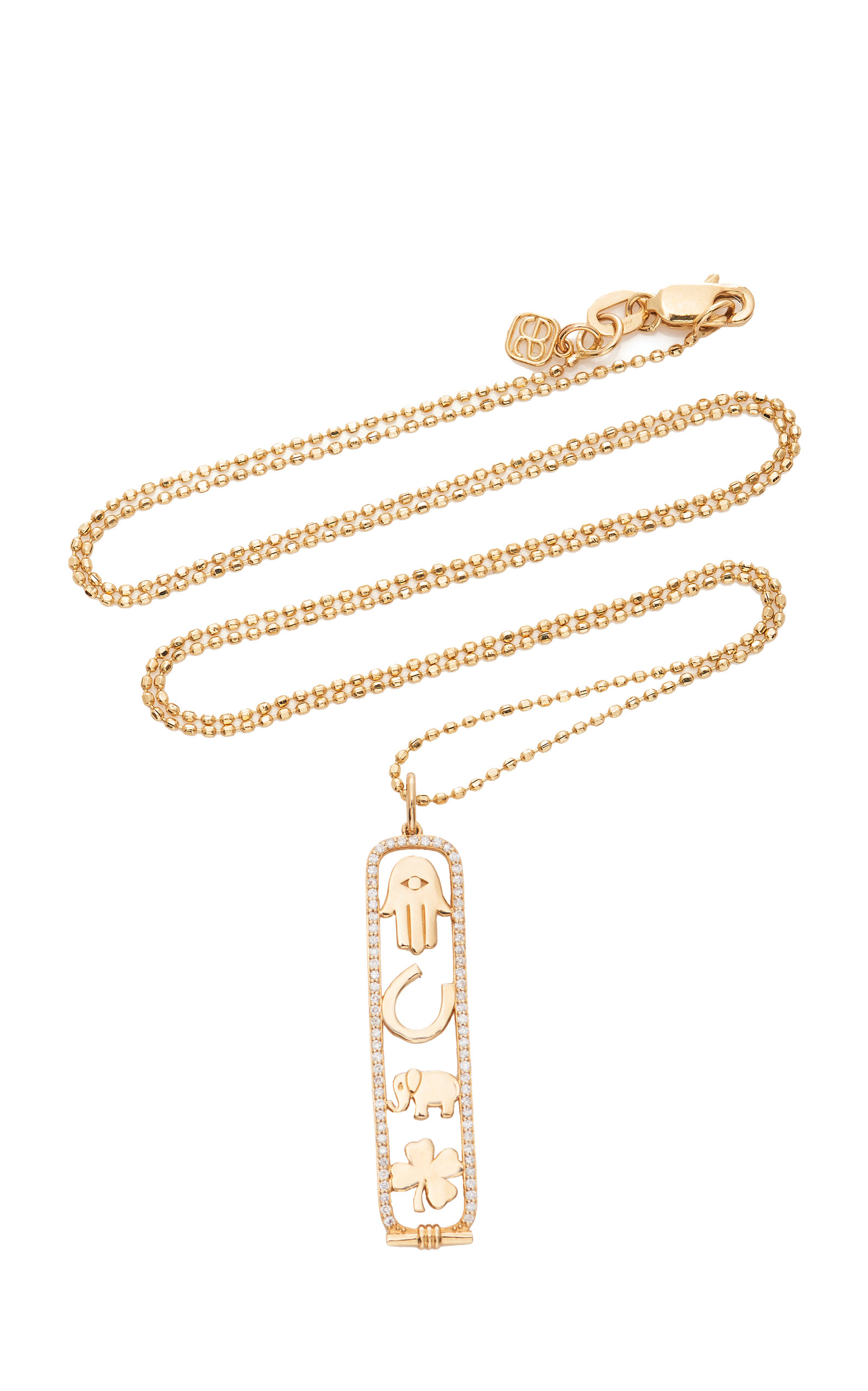 14 K Yellow Gold Luck And Protection Long Cartouche Necklace by Sydney Evan