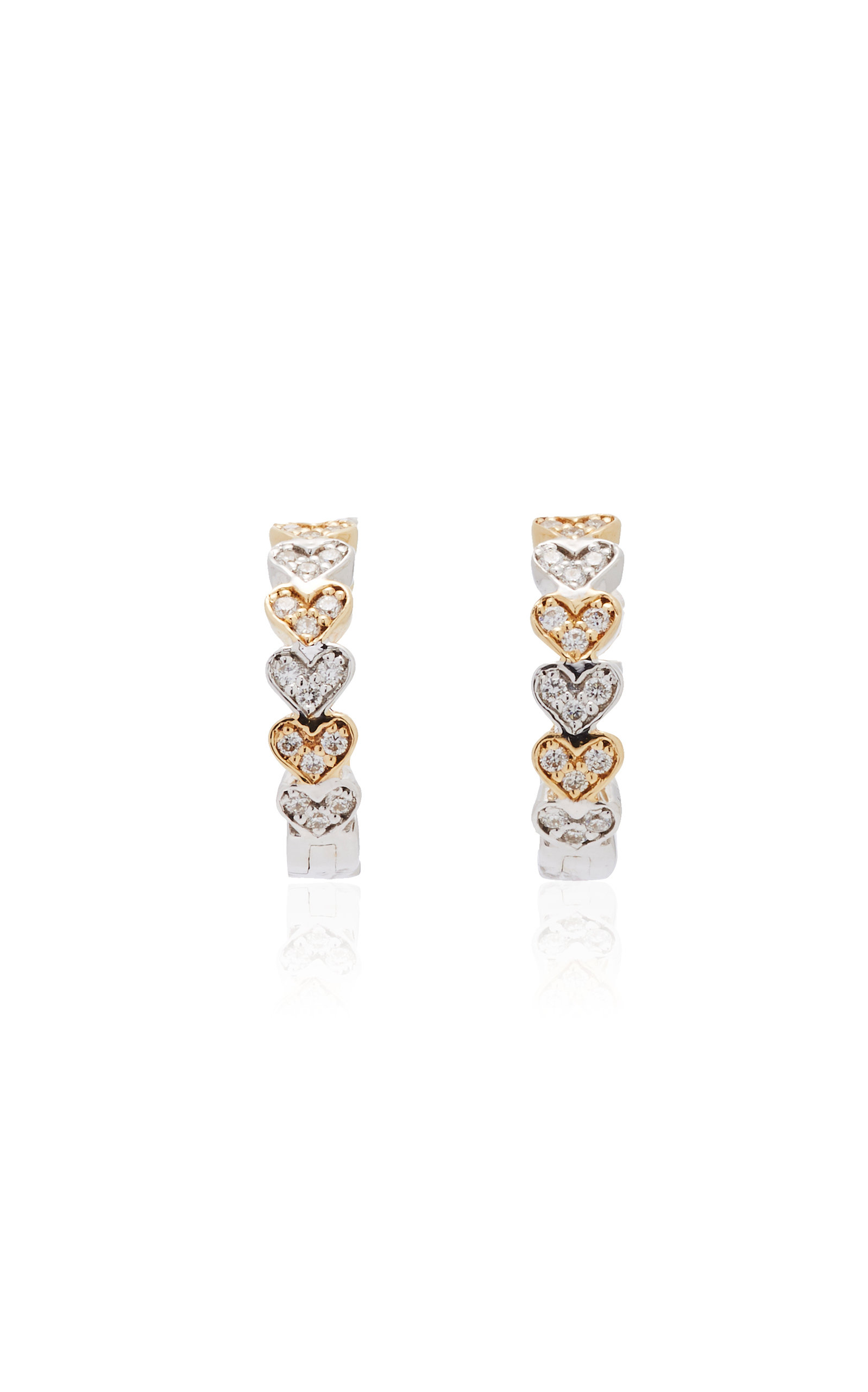 14 K Yellow Gold Heart Huggie Hoops by Sydney Evan
