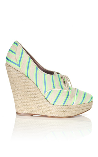 Medium tabitha simmons blue fluoro green oxford wedge