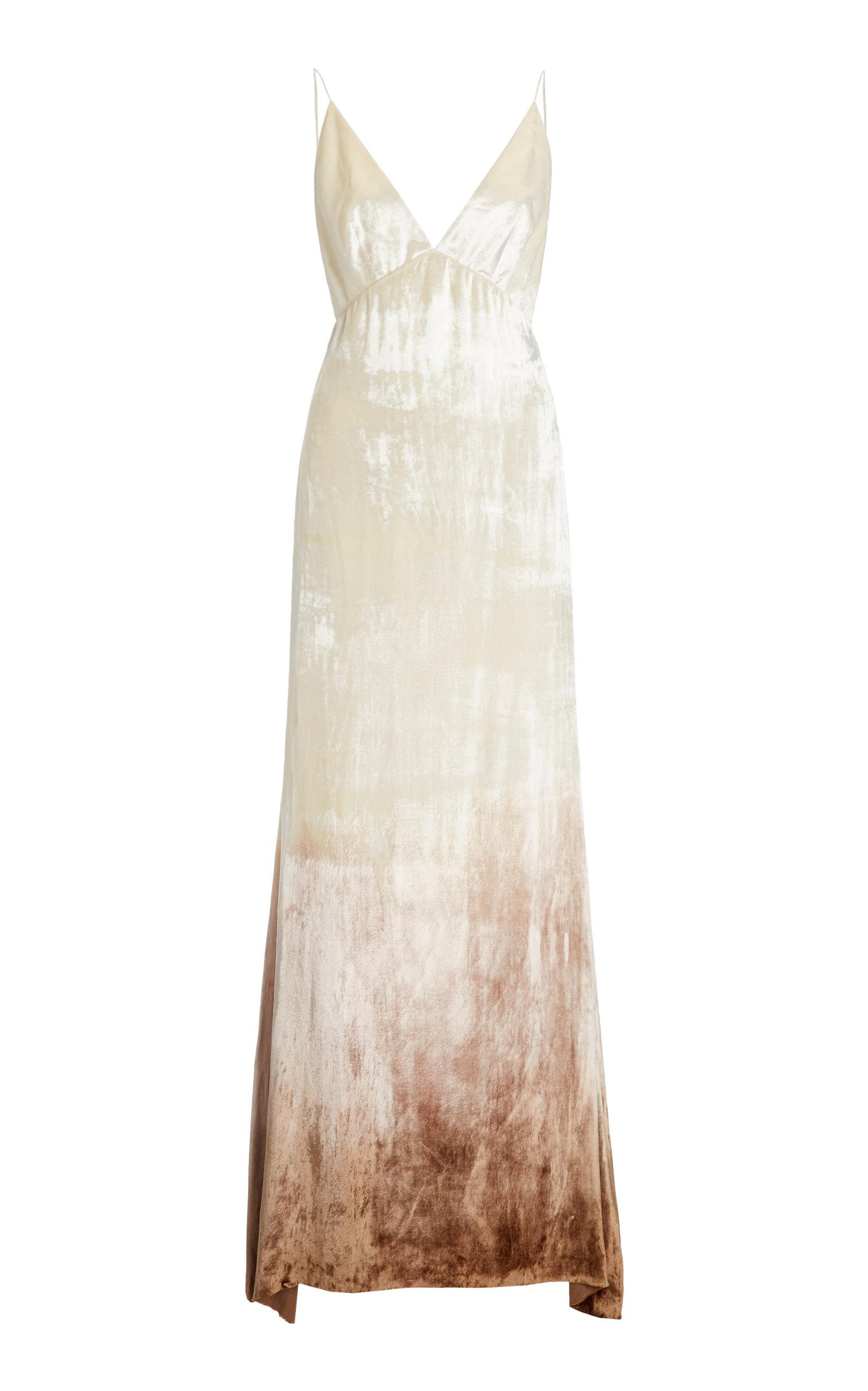 Danielle Frankel Imogen Ombrã© Velvet Gown In White