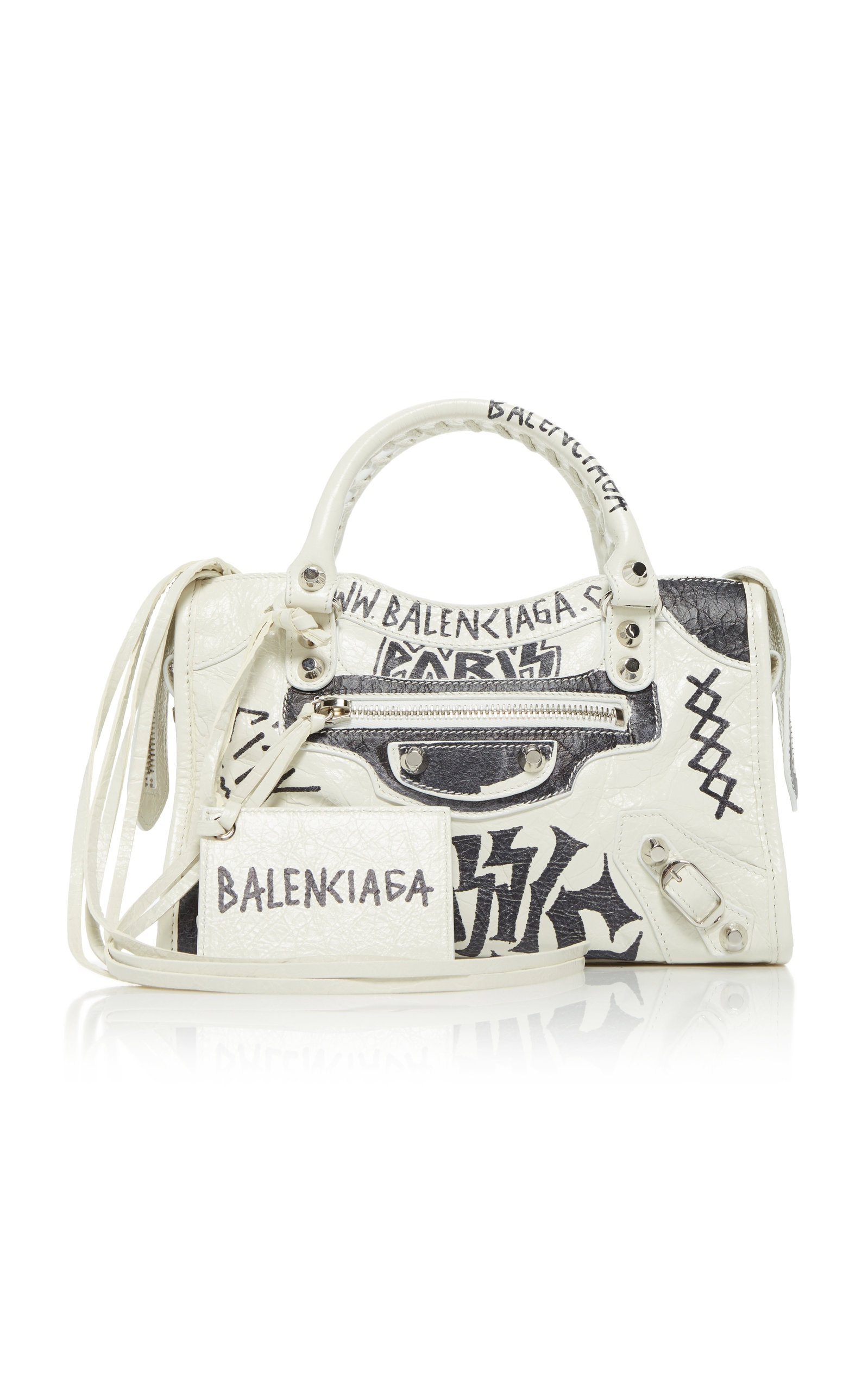 Balenciaga Classic City Mini Printed Textured-leather Tote In White