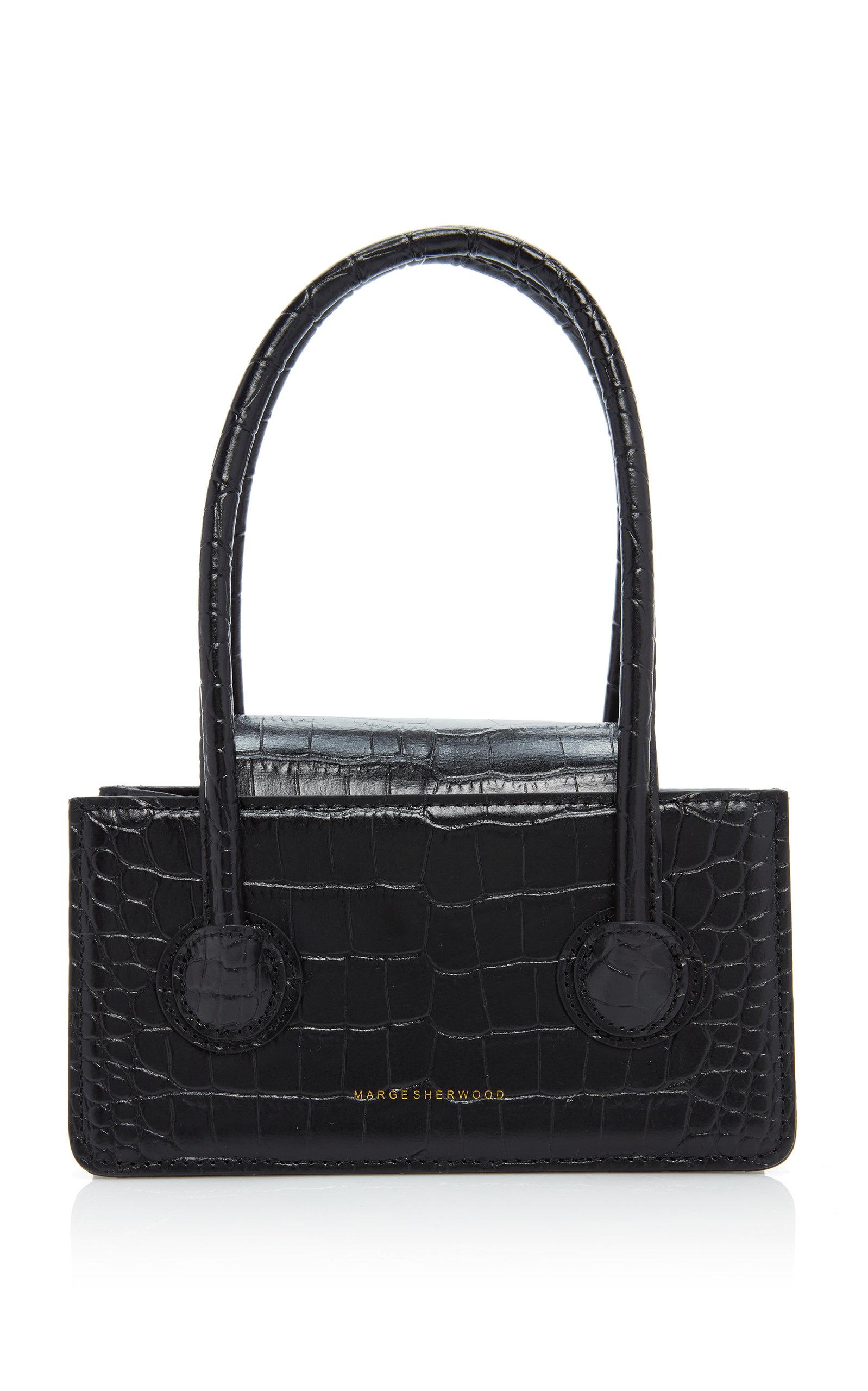Marge Sherwood Grandma Mini Croc-effect Leather Top Handle Bag In Black