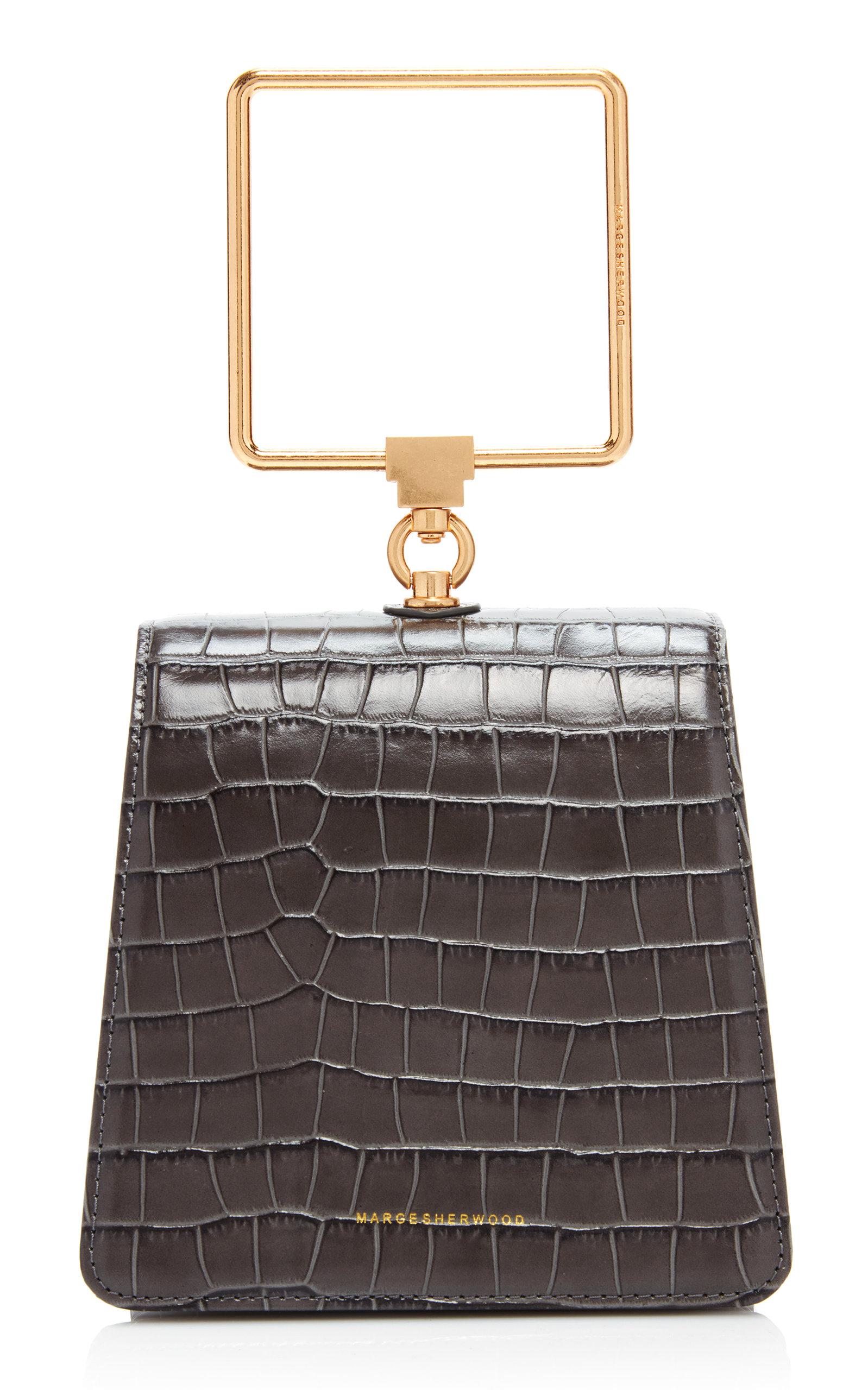 Marge Sherwood Pump Croc-effect Leather Top Handle Bag In Dark Grey