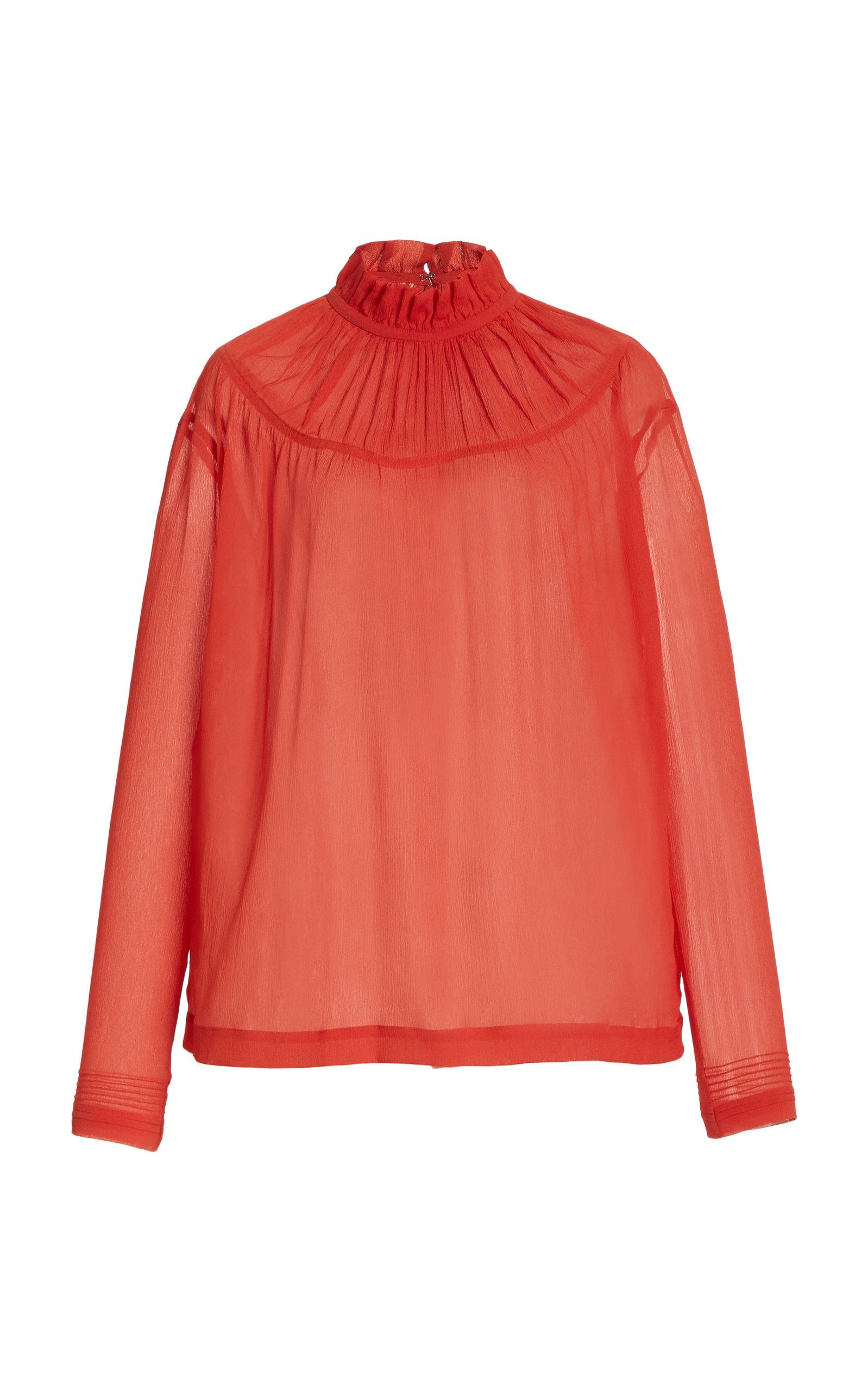 Victoria Victoria Beckham Pin Tuck-detail Ruffle Crepon Top In Orange