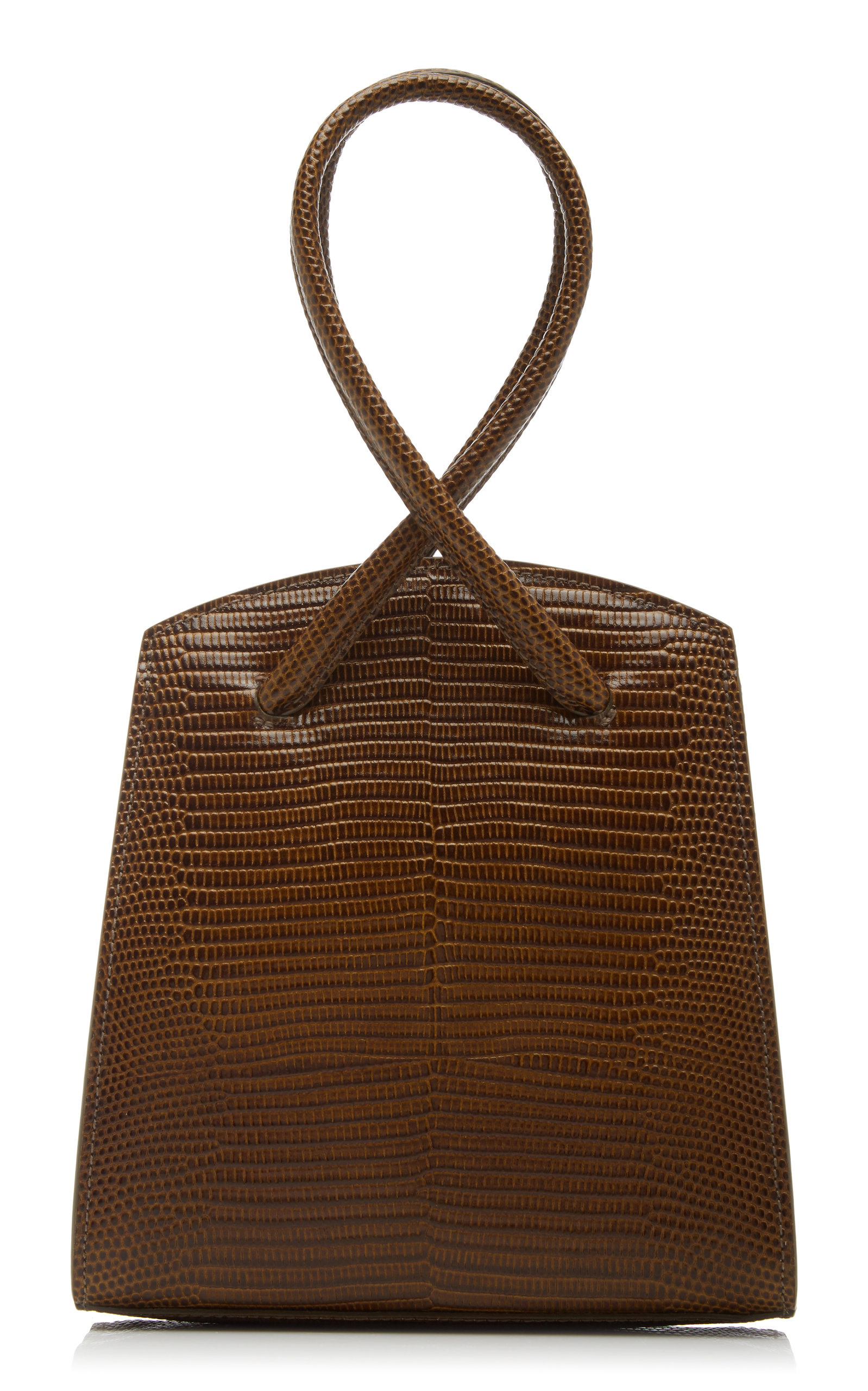 Little Liffner Twisted Wristlet Lizard-effect Leather Top Handle Bag In Brown