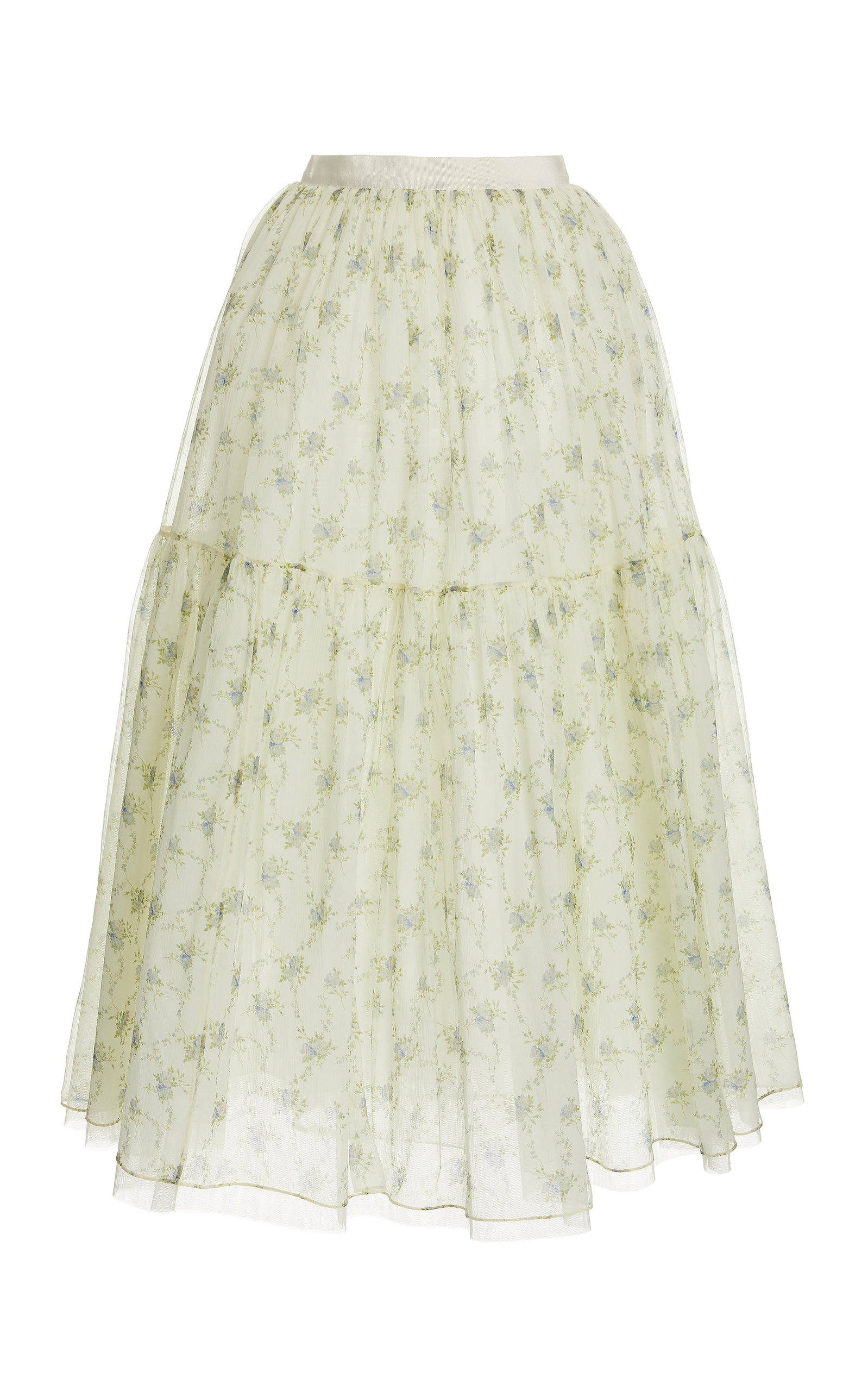 Brock Collection ROULETTE FLORAL-PRINT SILK SKIRT