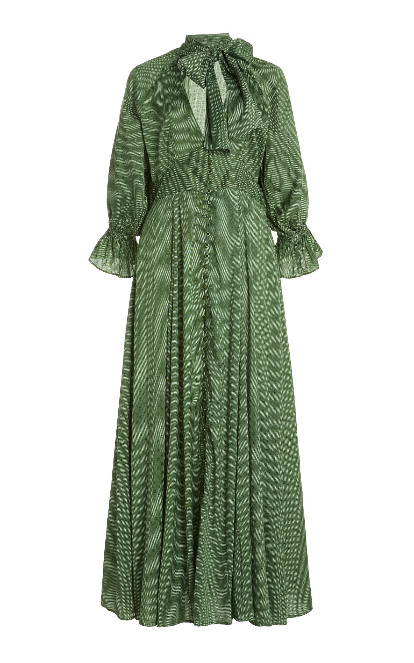 Bytimo Bow-accent Crepe-jacquard Maxi Dress In Green