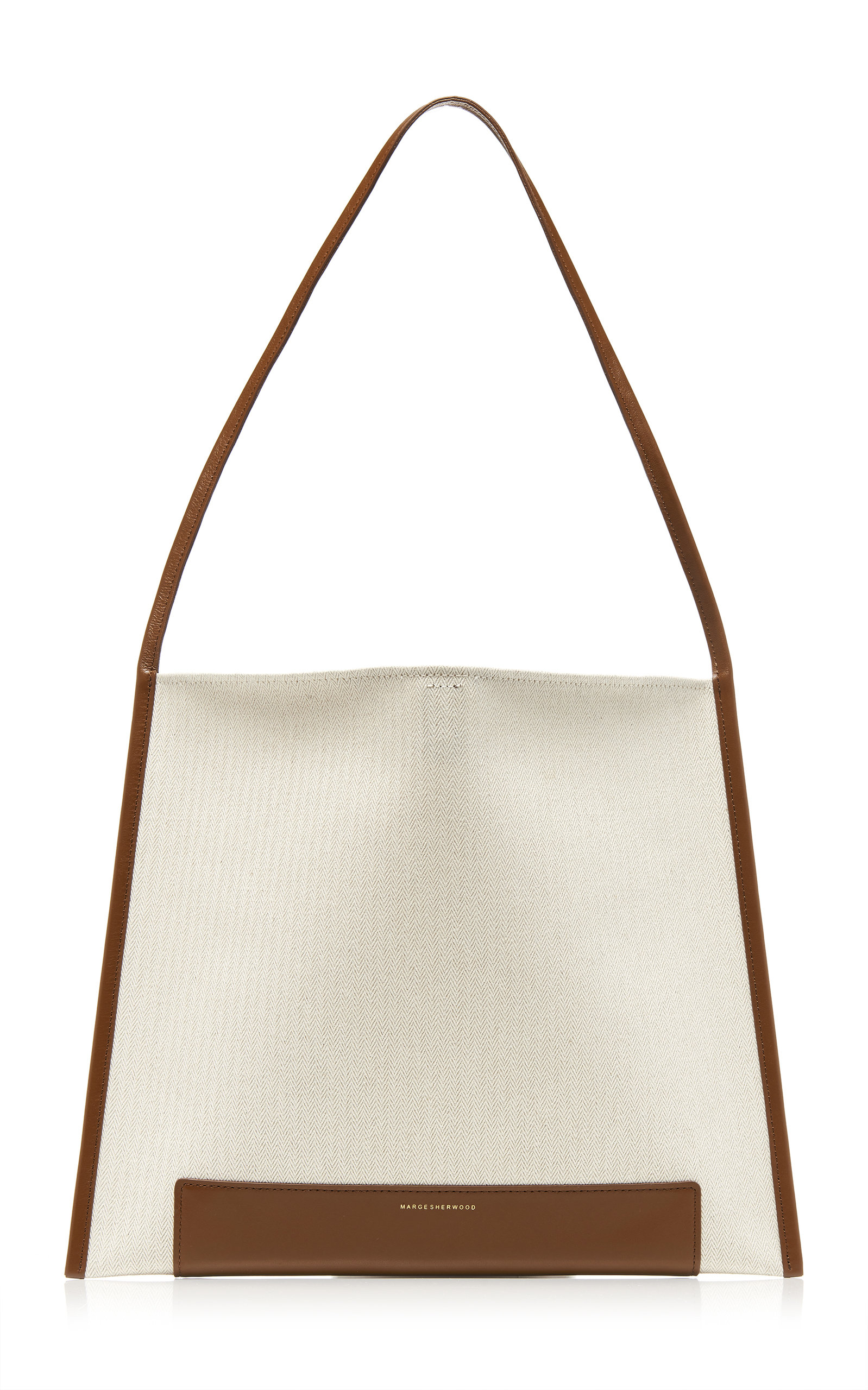 Marge Sherwood Joy Leather-trimmed Canvas Shopper Tote In Brown